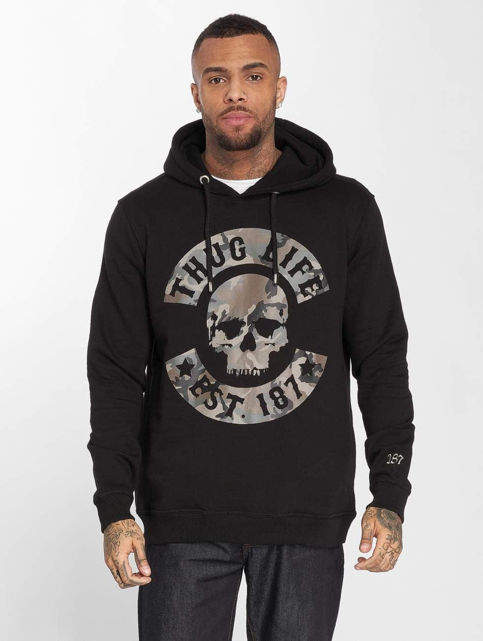 Thug Life / Hoodie B.Camo in black L