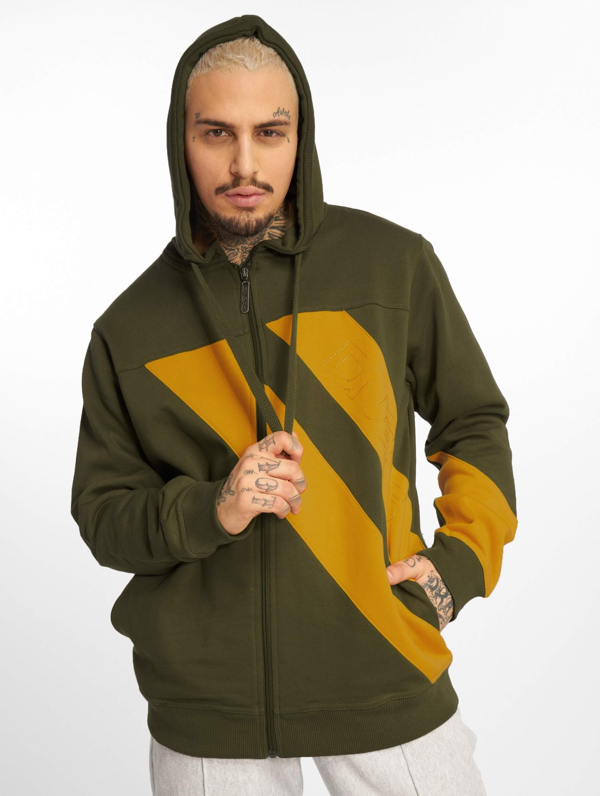 Dangerous DNGRS / Zip Hoodie Strip Zip in olive XL