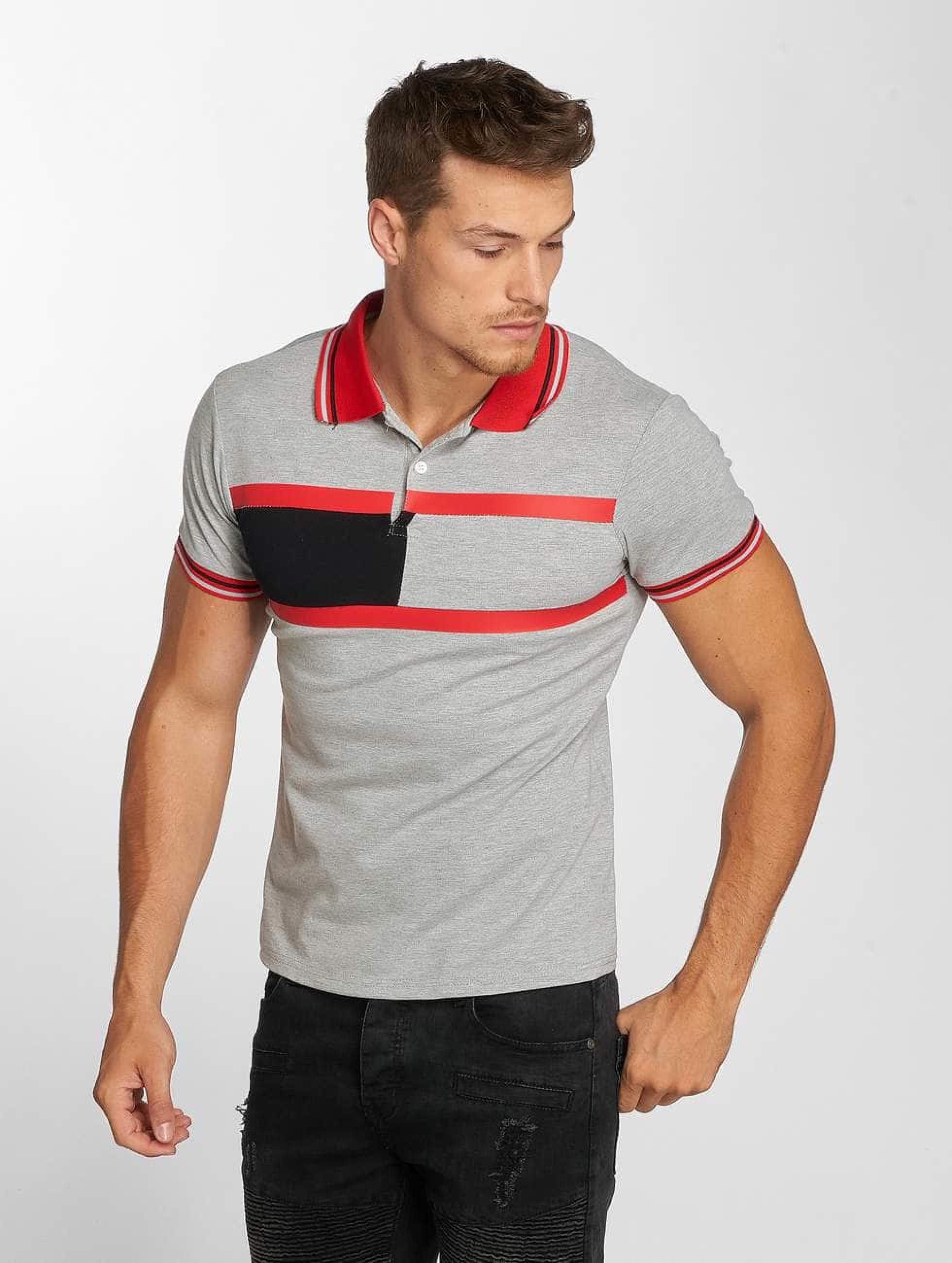 Aarhon   Block Stripes gris Homme Polo