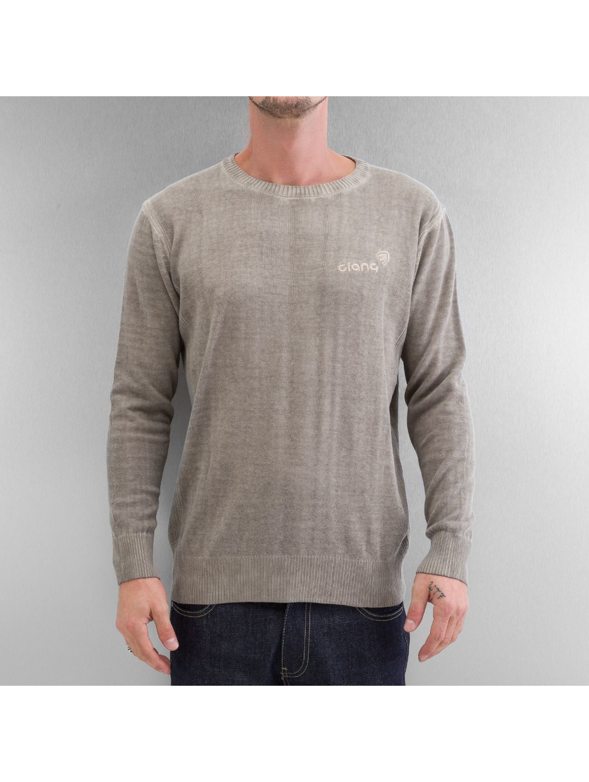 Clang Männer Pullover Oilwashed Knitted in khaki