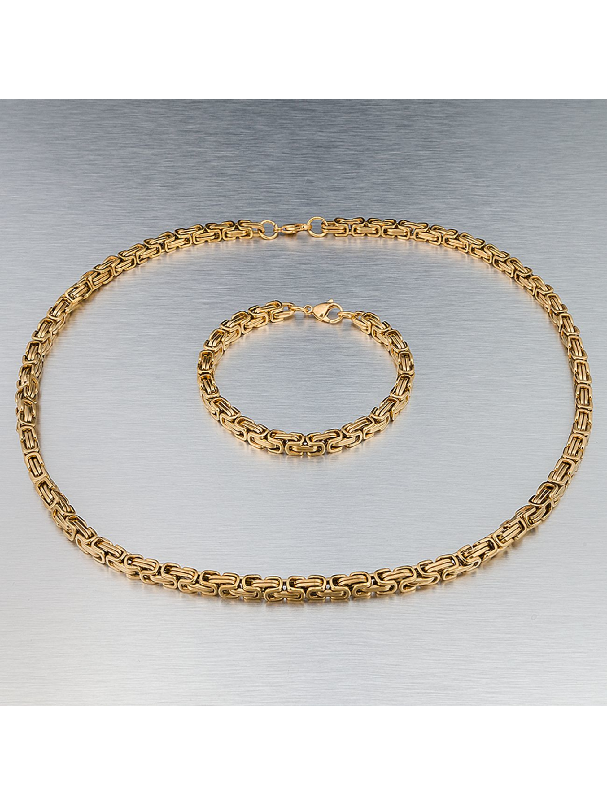 Paris Jewelry Männer,Frauen Kette Bracelet 22cm and Necklace 60cm in goldfarben