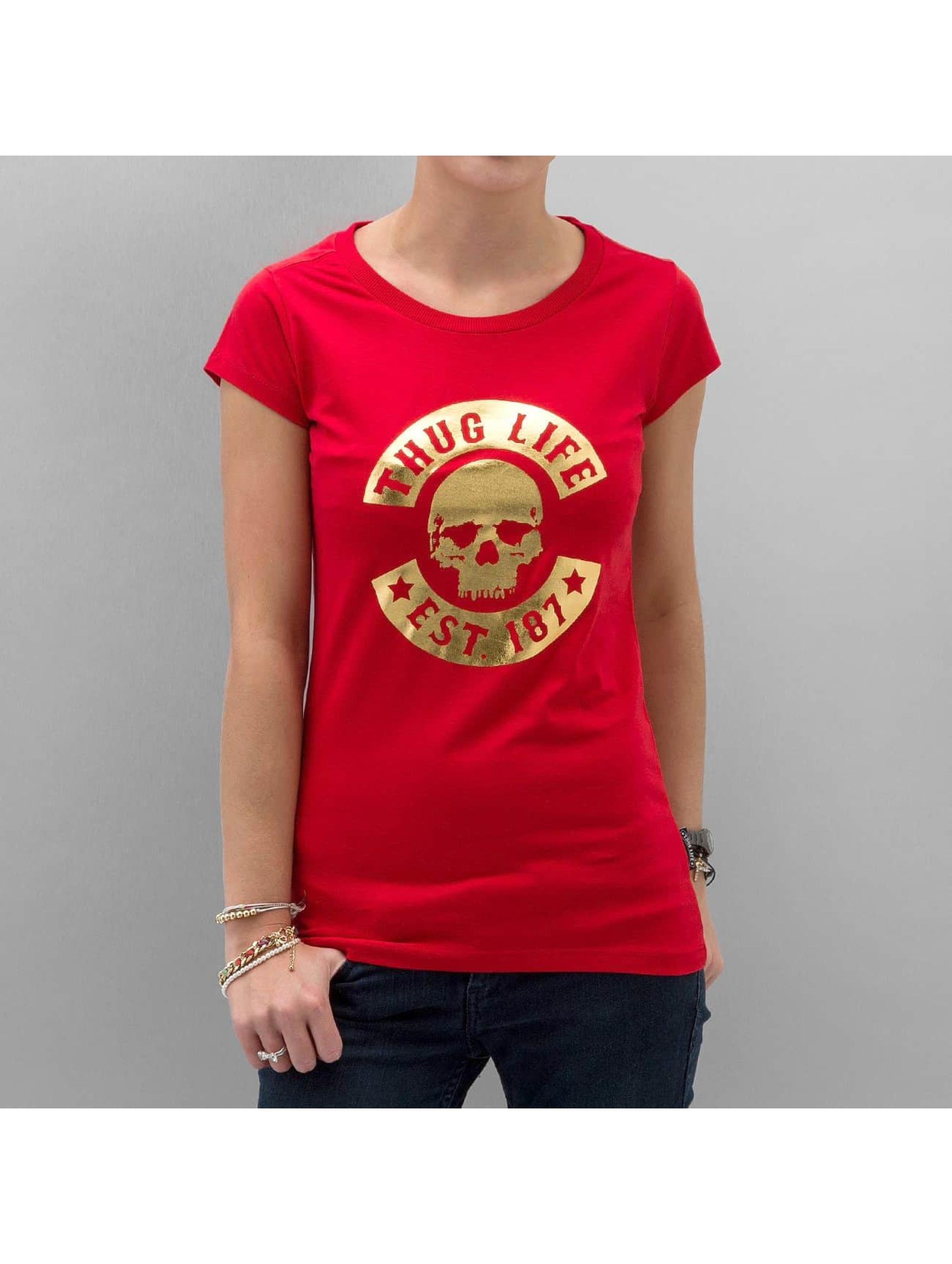 Thug Life Skull T Shirt Red