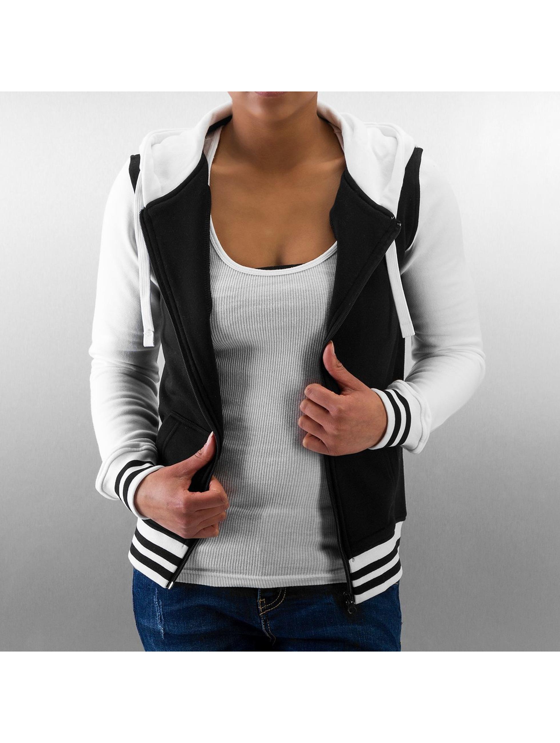 Urban Classics Frauen Zip Hoodie Ladies 2-Tone College in schwarz