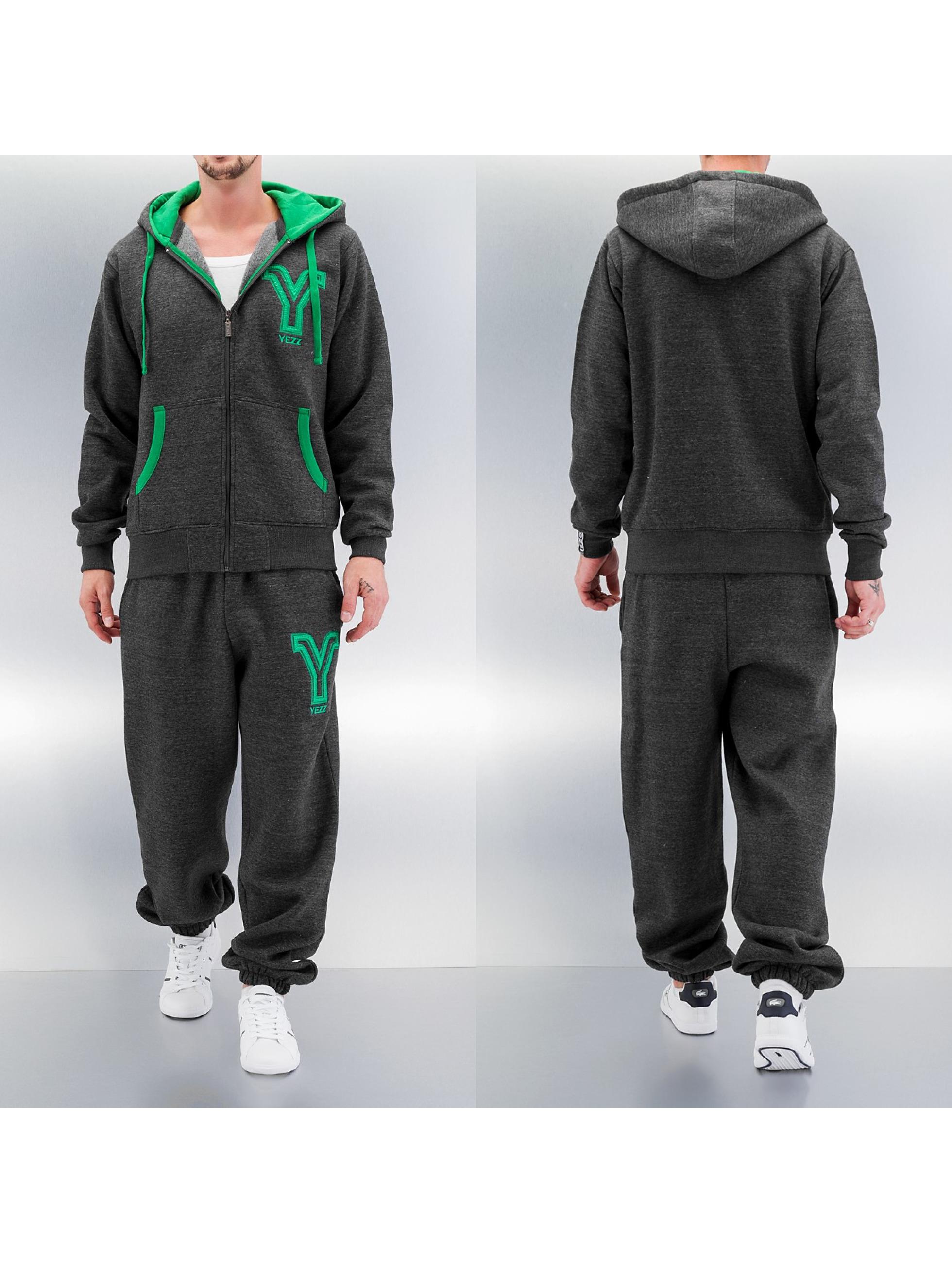 Yezz 3 Tone Sweat Suit Grey Green