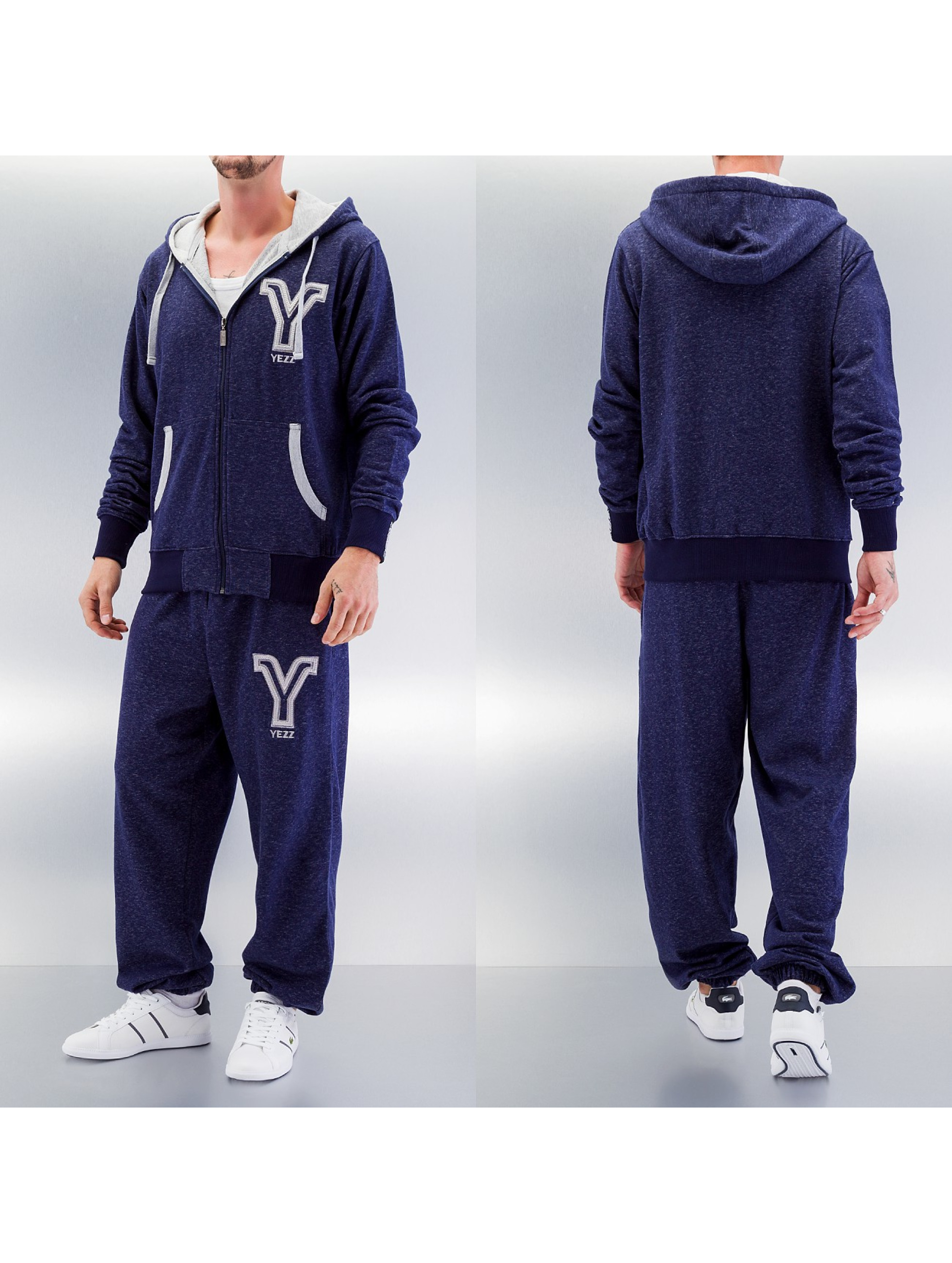 Yezz 3 Tone Sweat Suit Navy Denim