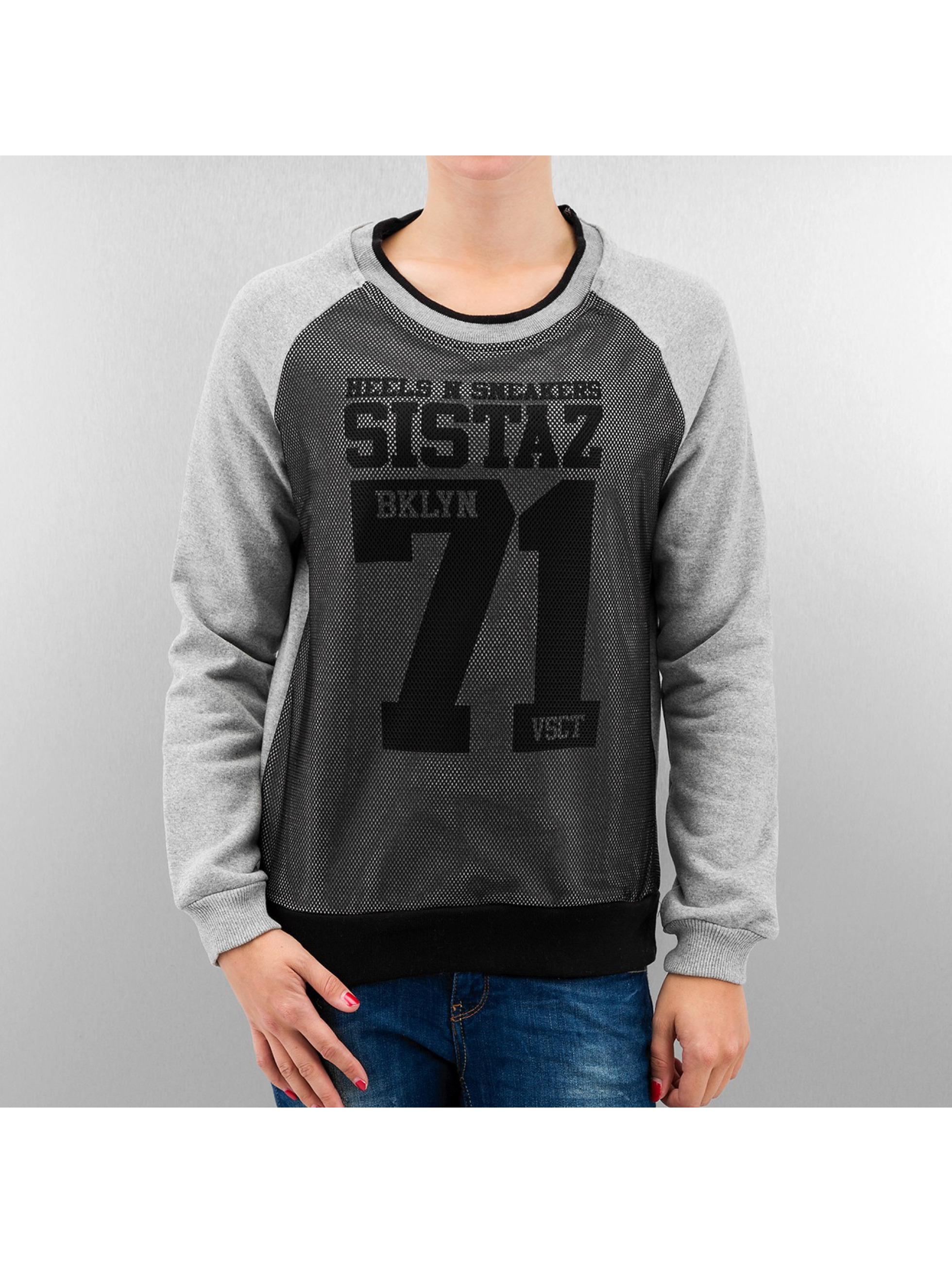 VSCT Clubwear Frauen Pullover BKLYN Sistaz Mesh in grau