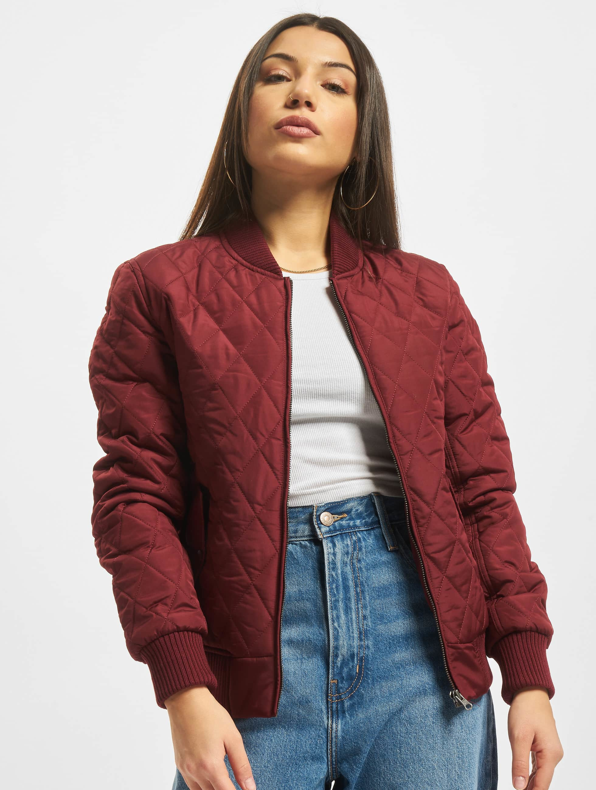 Urban Classics Frauen College Jacke Diamond Quilt Nylon in rot