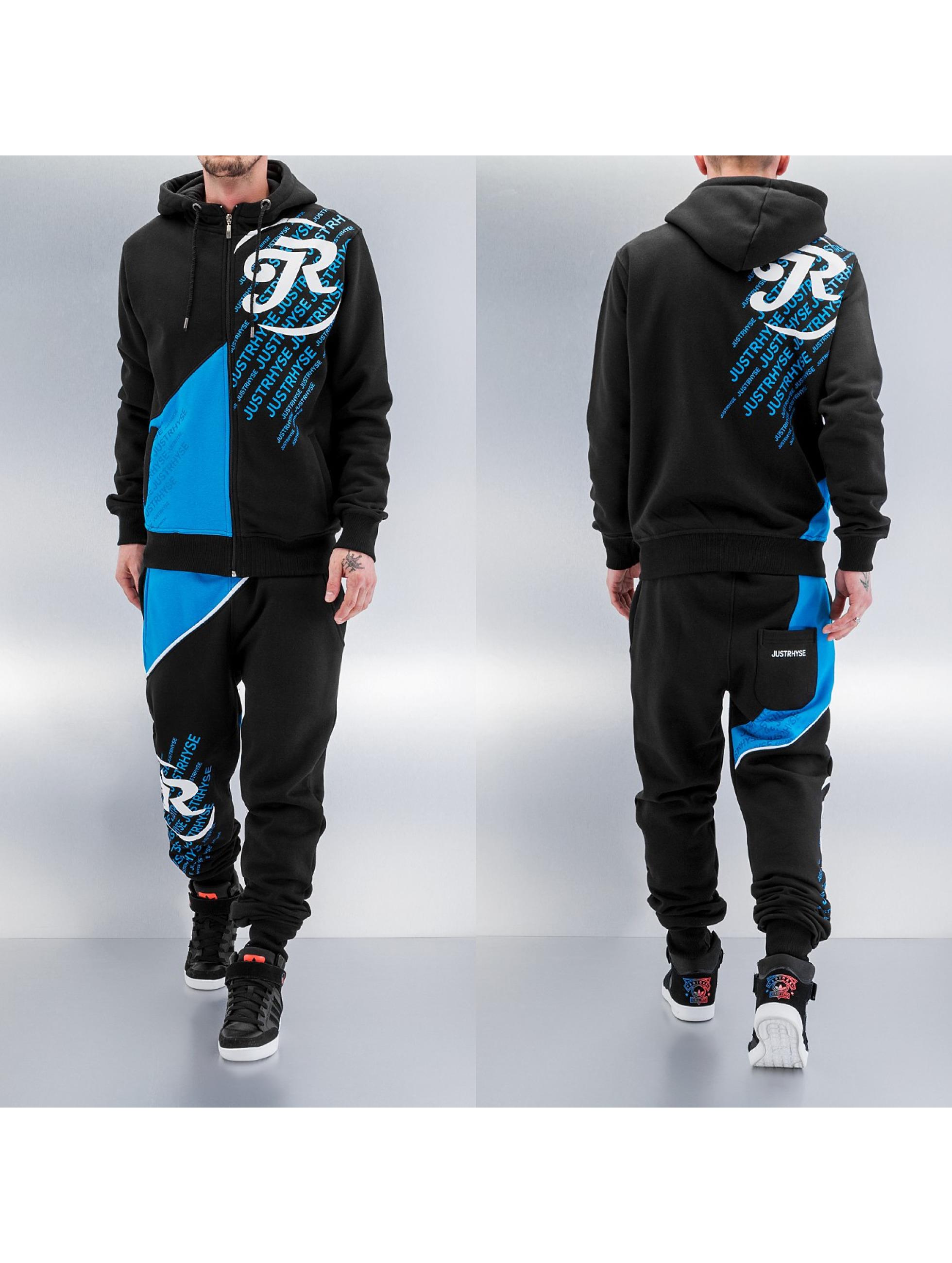 Just Rhyse Logo Sweat Suit Black Blue