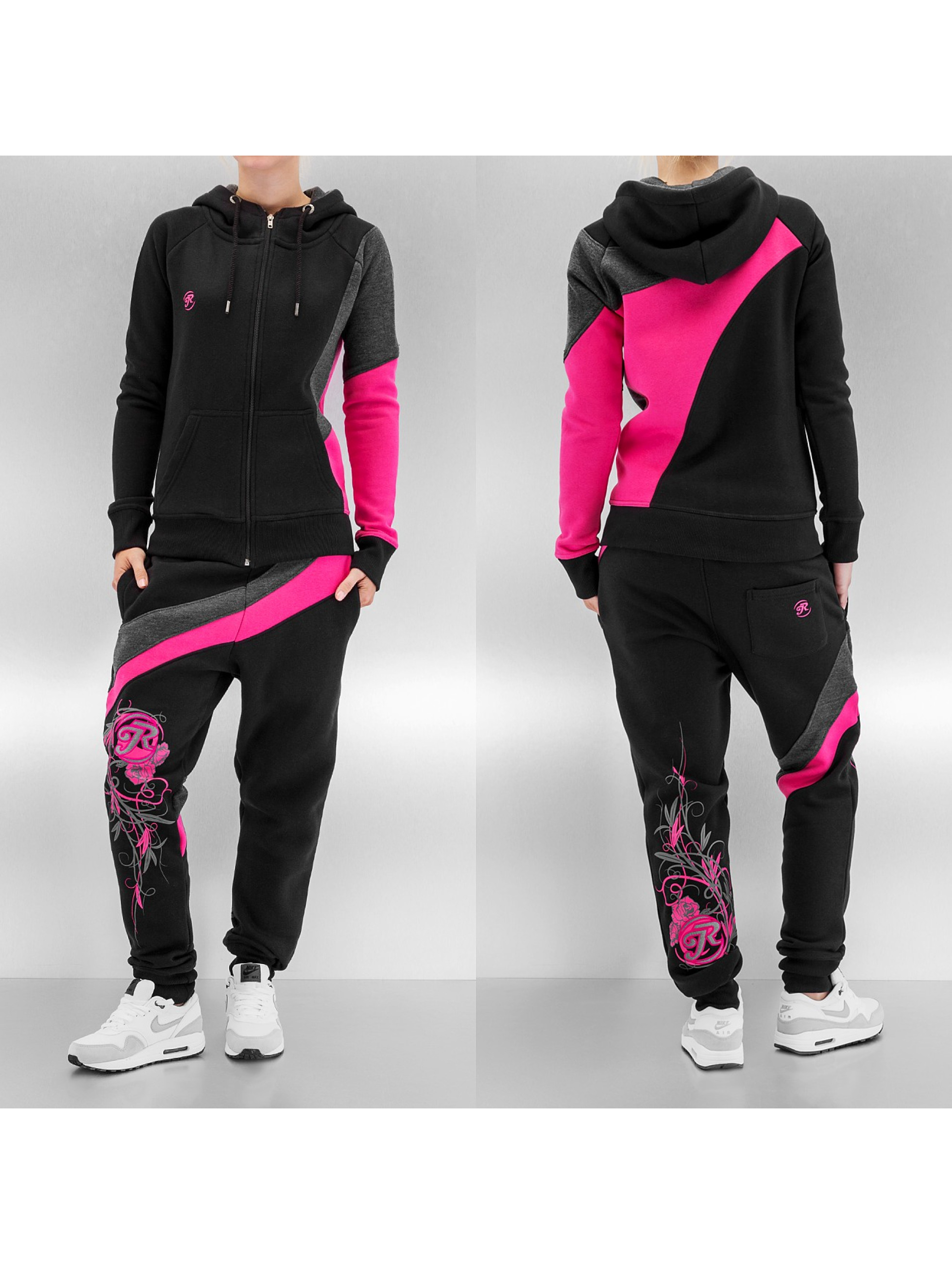 Just Rhyse Two Tone Suit Black Pink