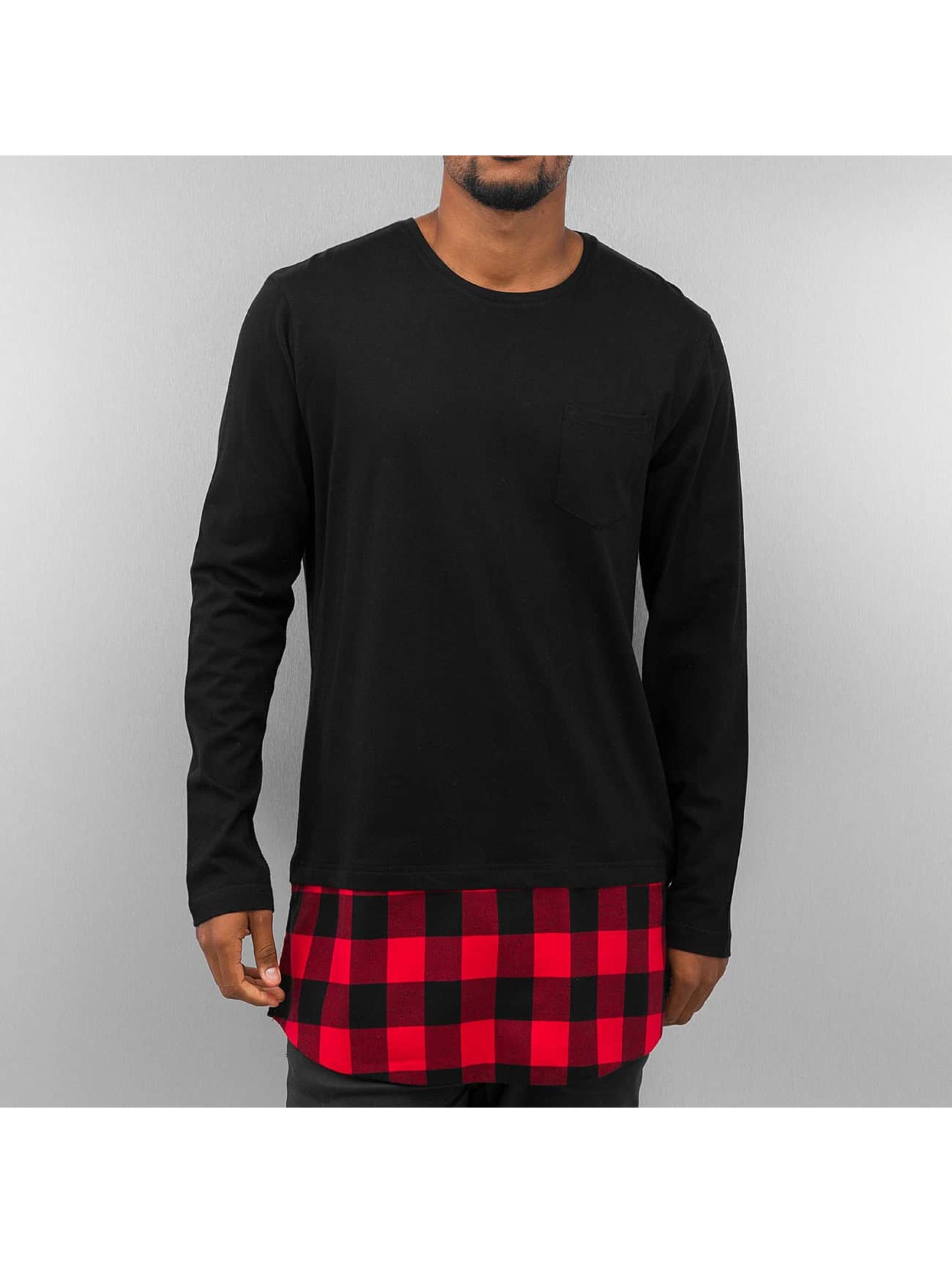 Urban Classics Long Shaped Flanell Bottom Pocket Longsleeve Black Black Red