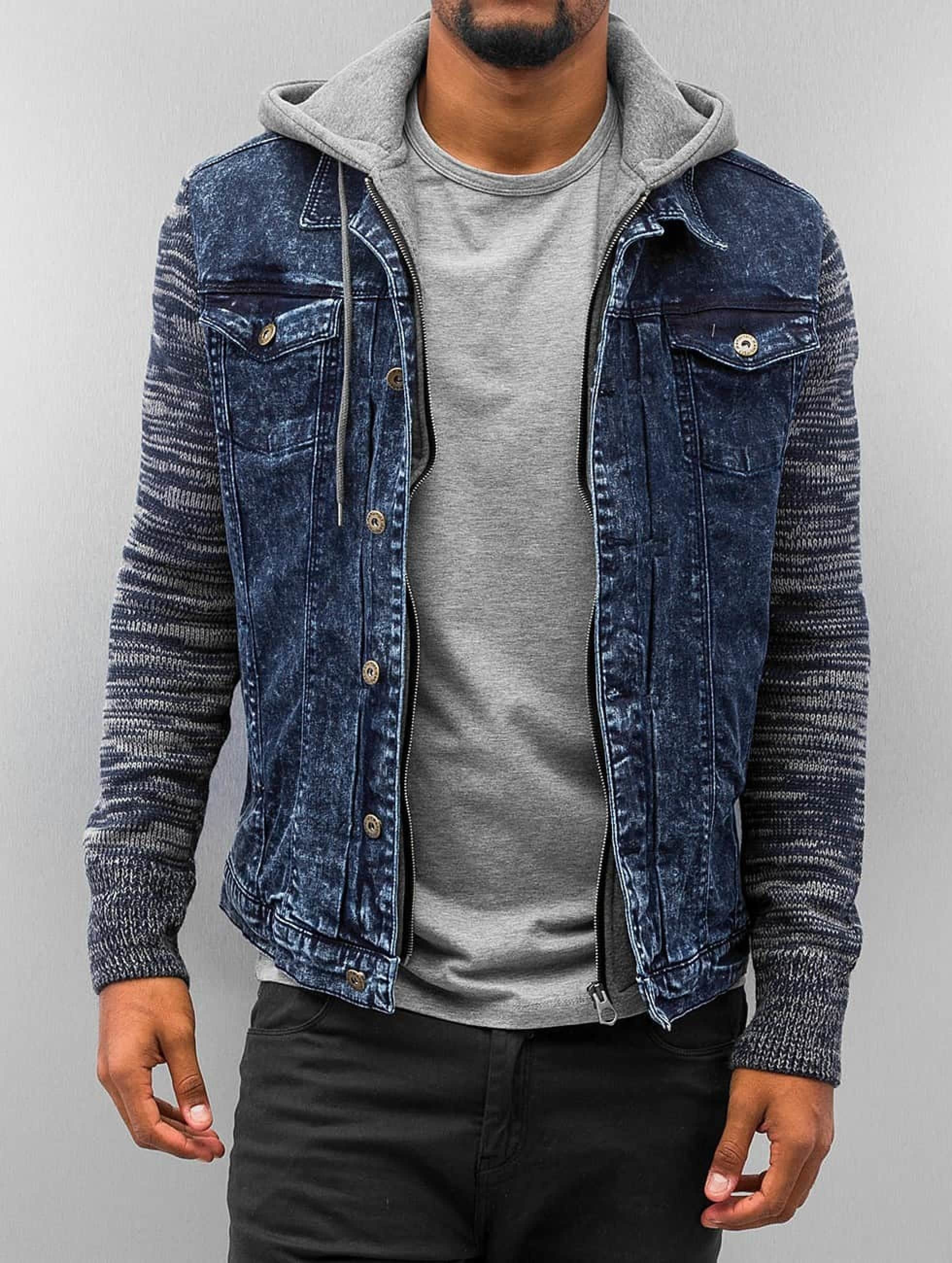 VSCT Clubwear Hybrid Denim Jacket with Moulinee Sleeves Blue