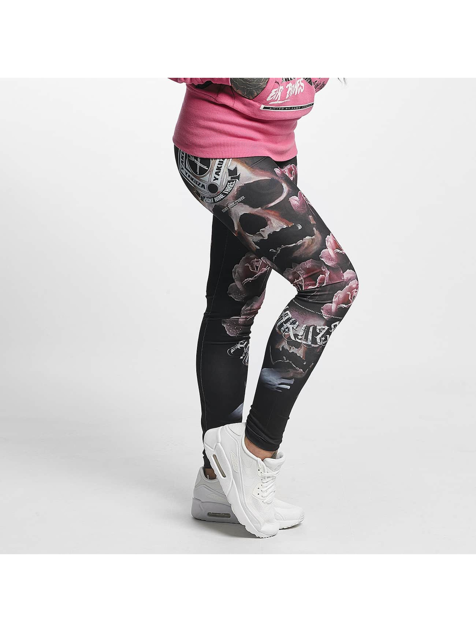 Yakuza Frauen Legging Rose Skull in schwarz