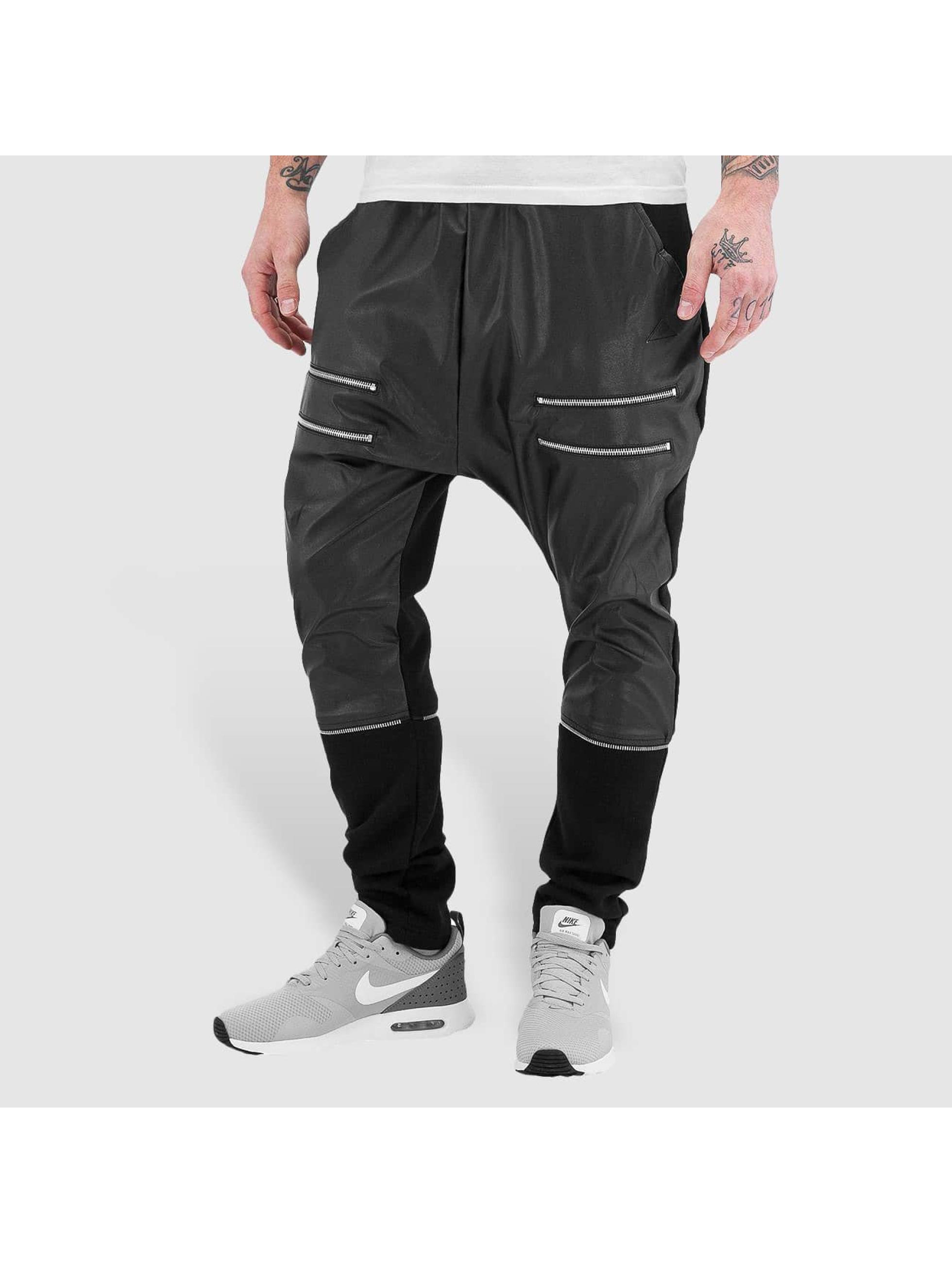 Bangastic Männer Jogginghose Zip Leather in schwarz