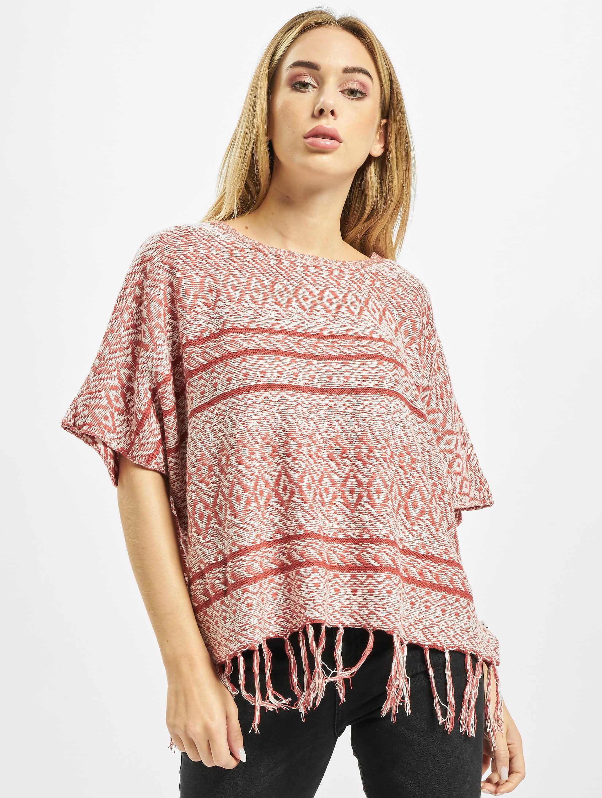 Only Frauen Pullover onlArdenay 2/4 Knit Poncho in rot