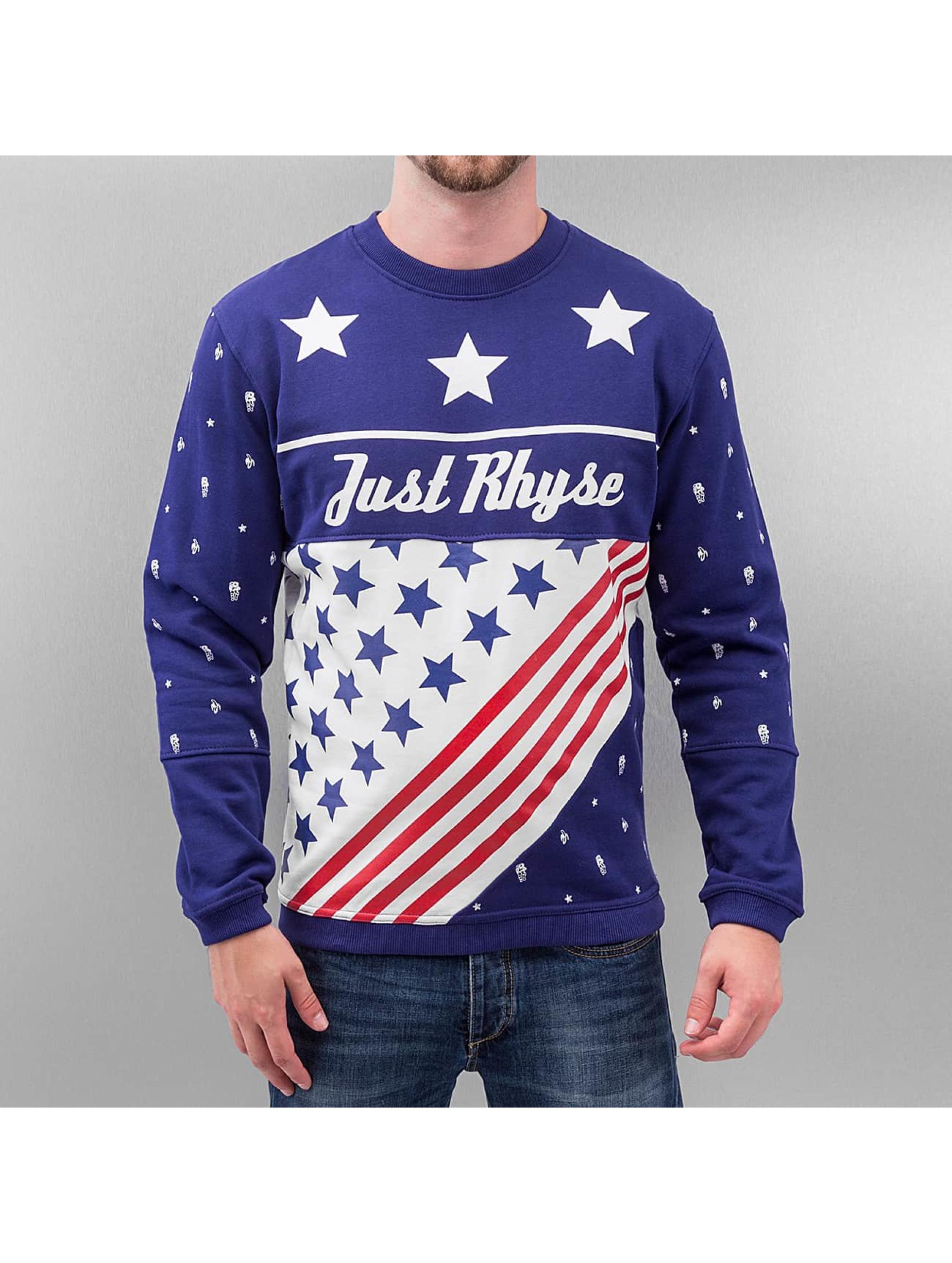 Just Rhyse Männer Pullover US Logo in blau