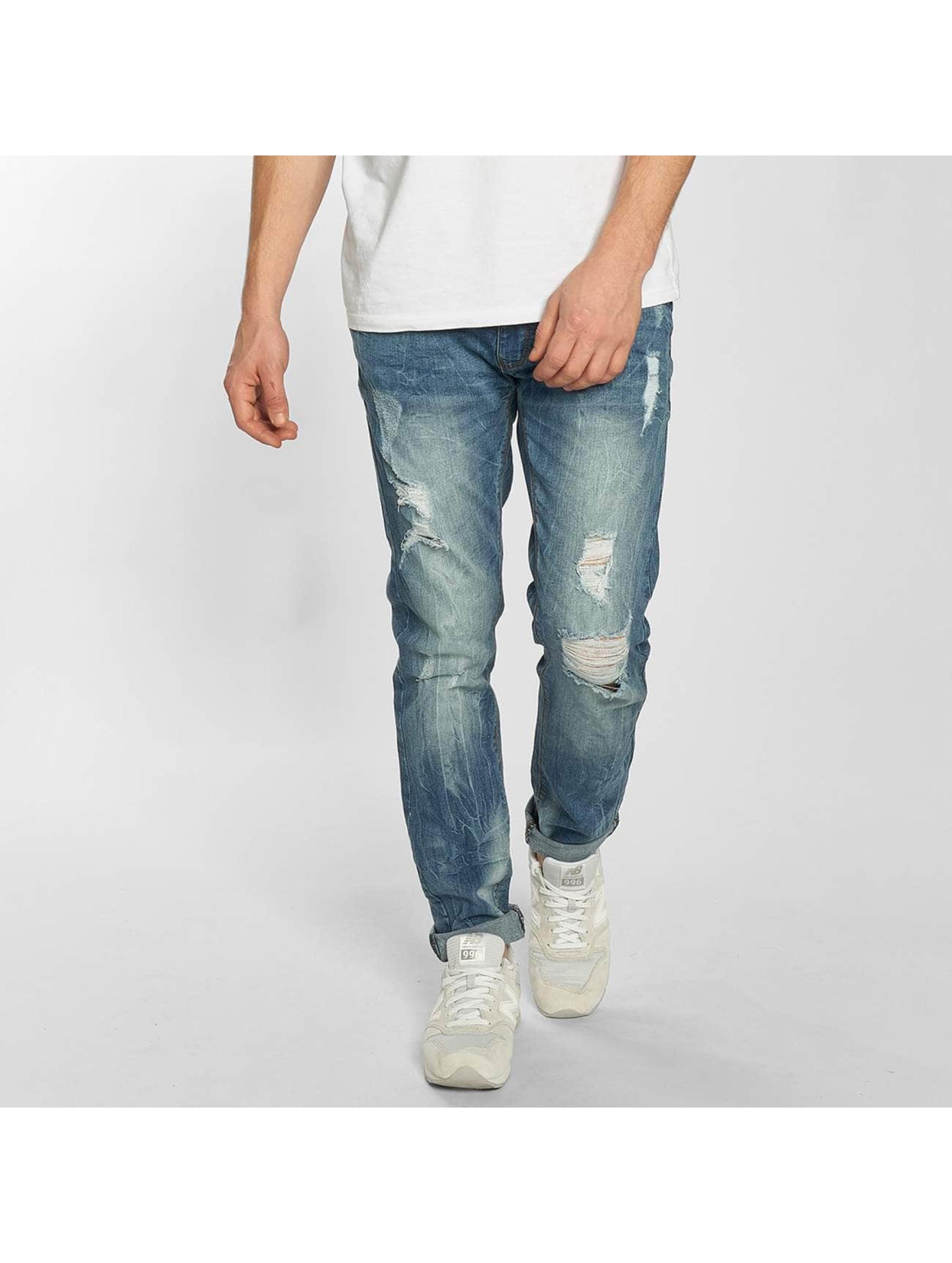 SHINE Original Männer Straight Fit Jeans Destroy in blau Sale Angebote Laubsdorf