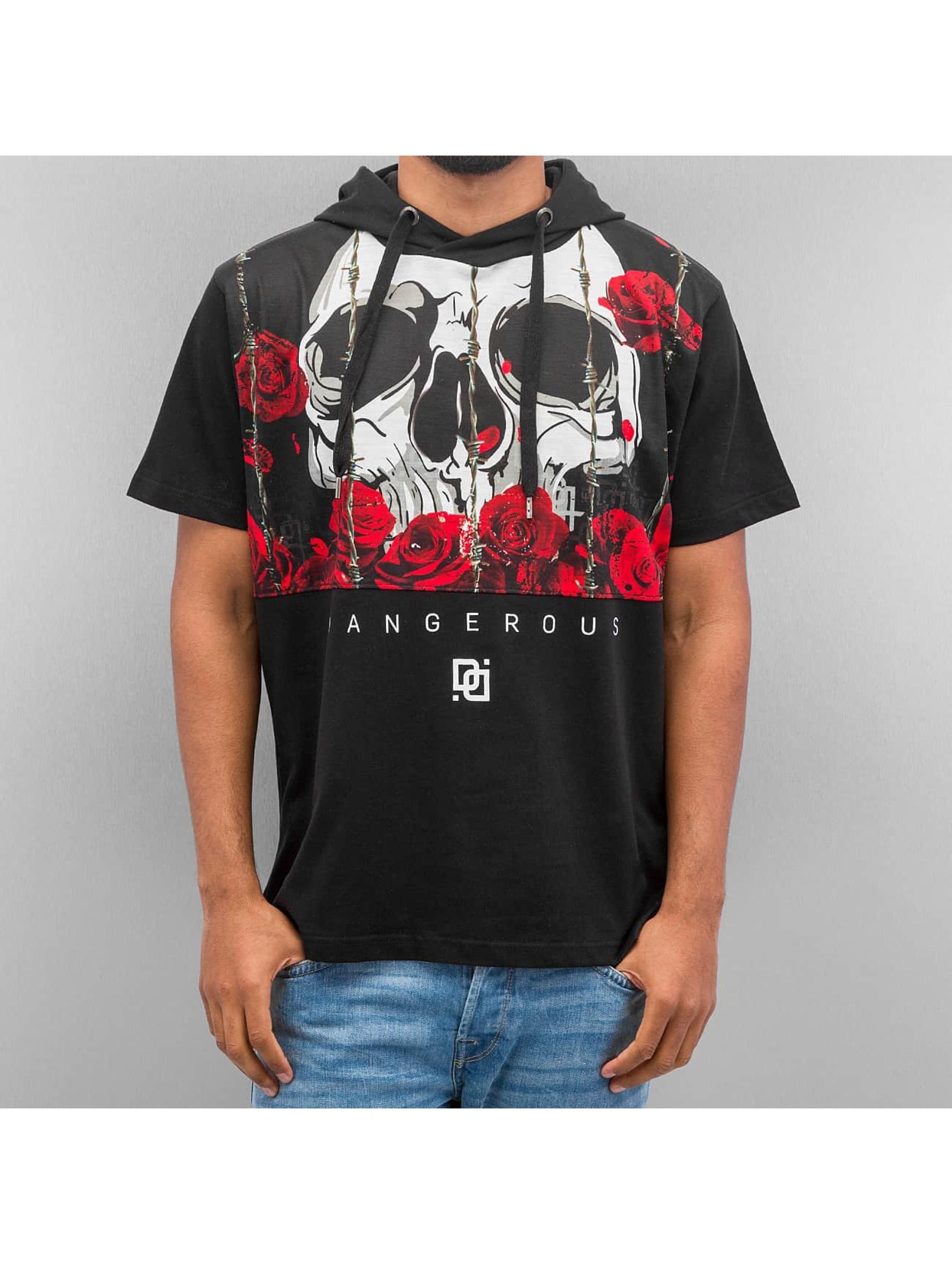 Dangerous DNGRS Skull Hooded T Shirt Black