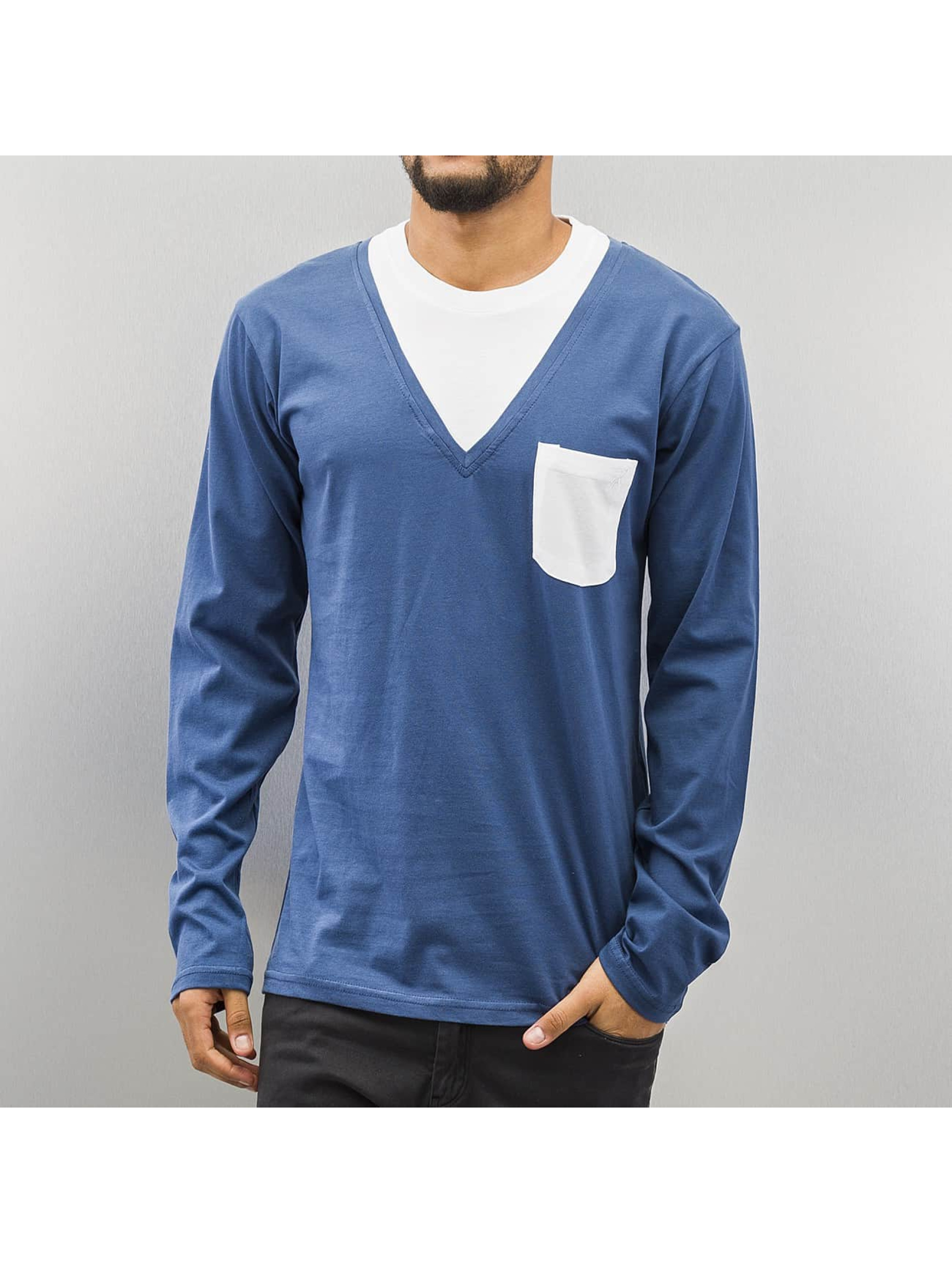 Cazzy Clang Männer Longsleeve Breast Pocket in blau