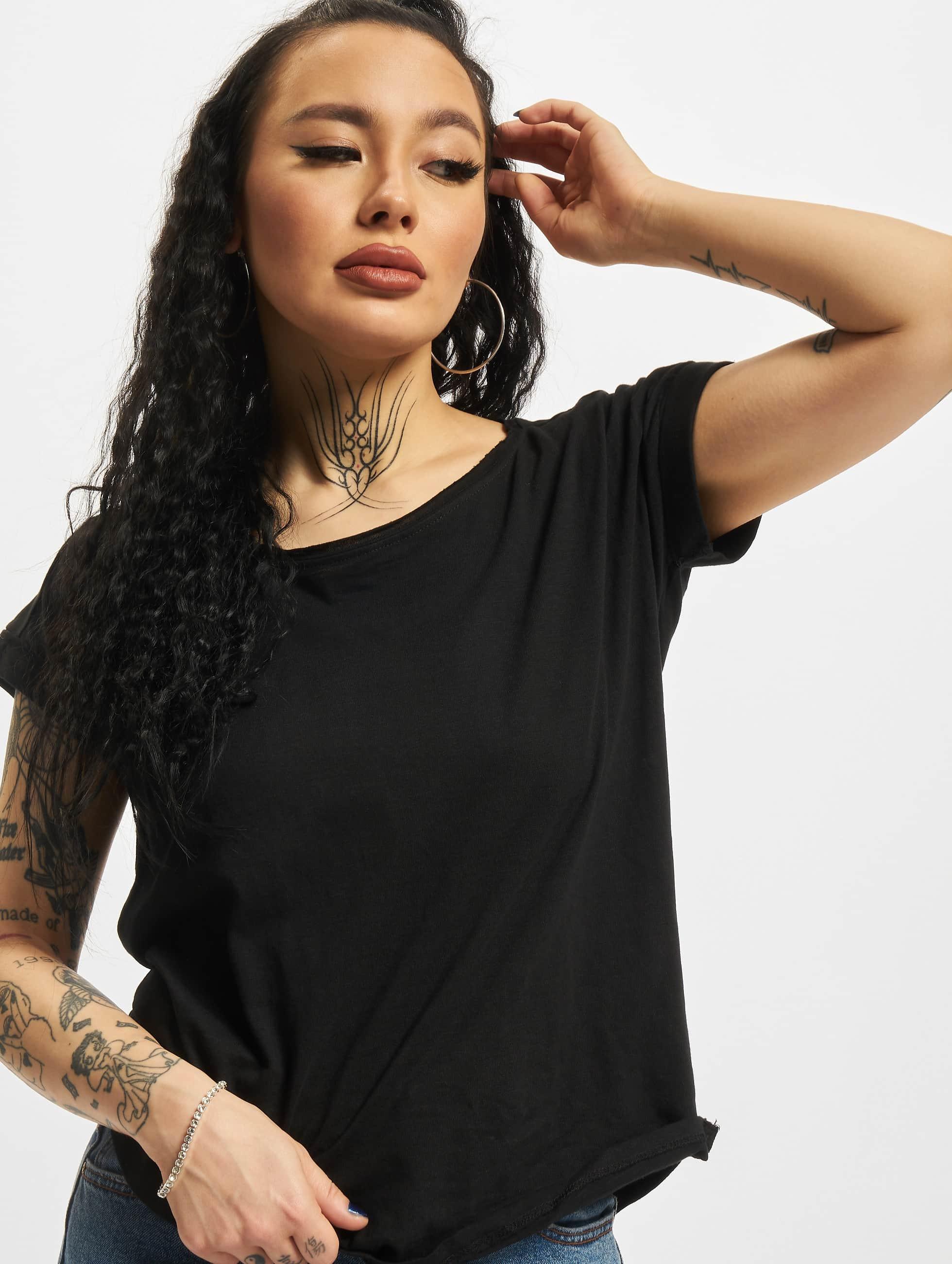 Urban Classics Ladies Long Back Shaped Slub T Shirt Black