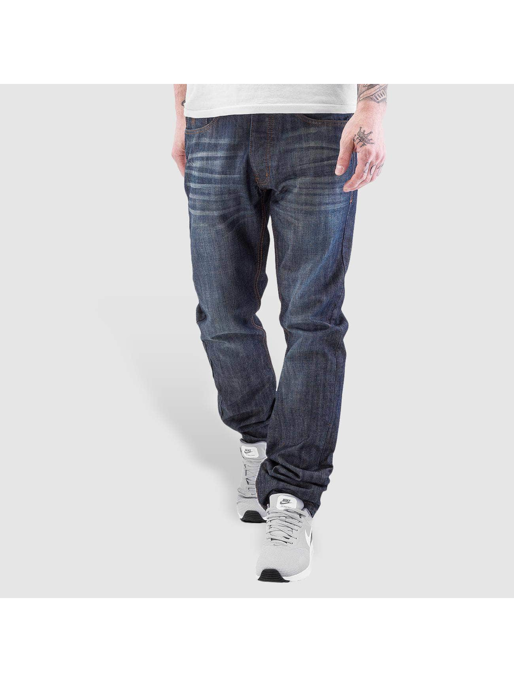 Rocawear / Straight Fit Jeans Leather Patch in blue W 36