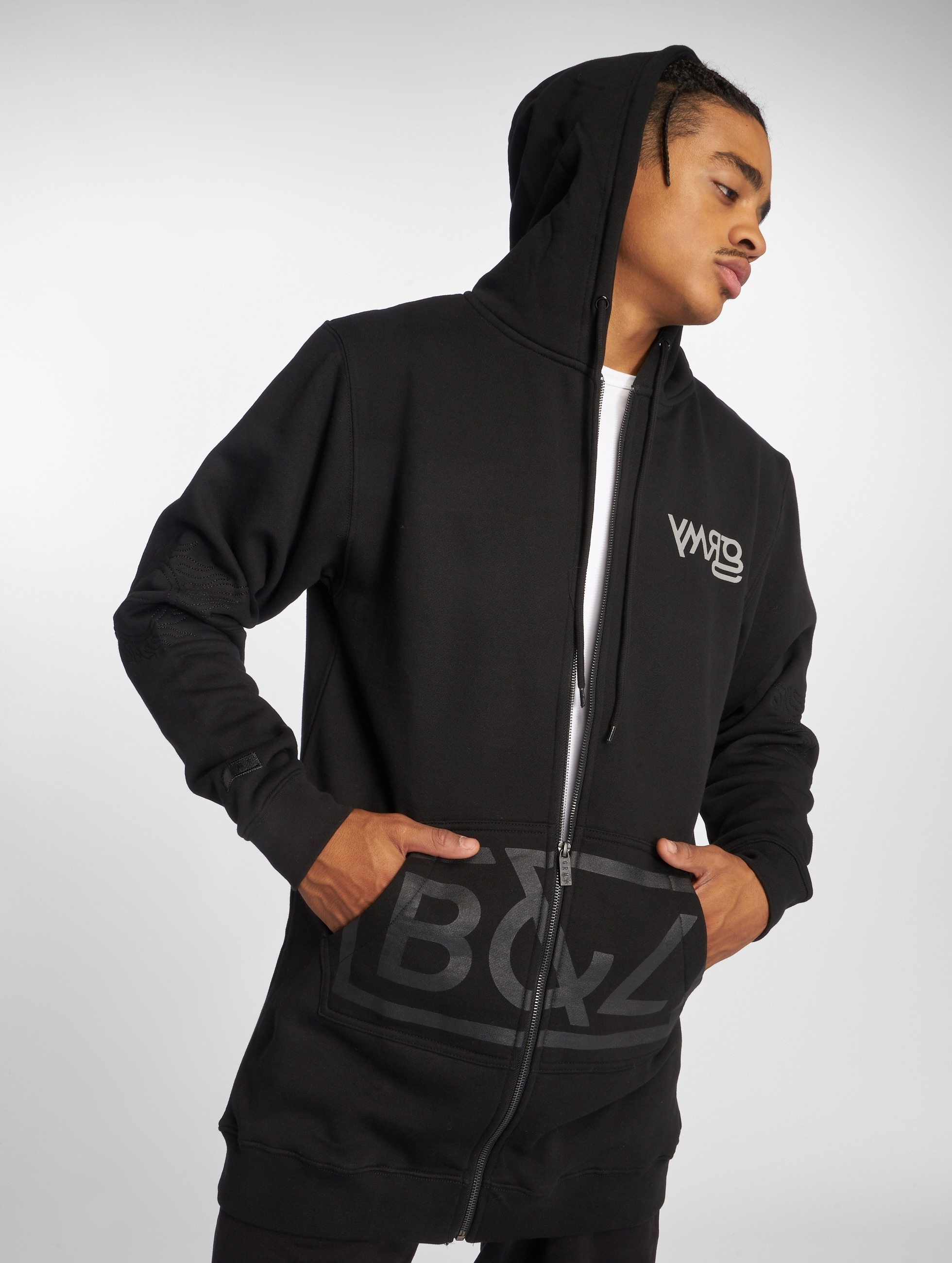 Grimey Wear Männer Zip Hoodie Fire Eater Long in schwarz