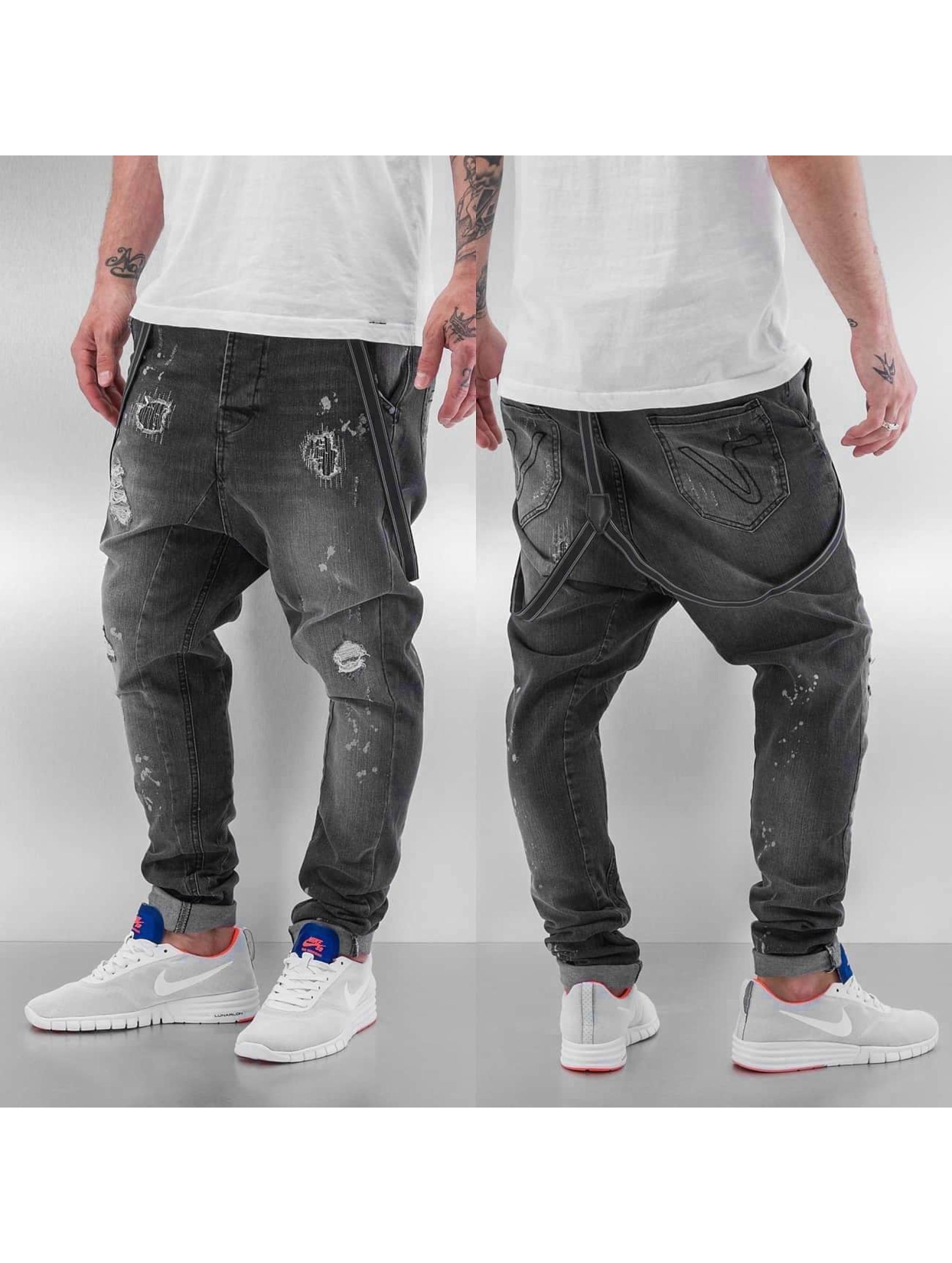 VSCT Clubwear Jean carotte antifit Brad Slim Supenders gris