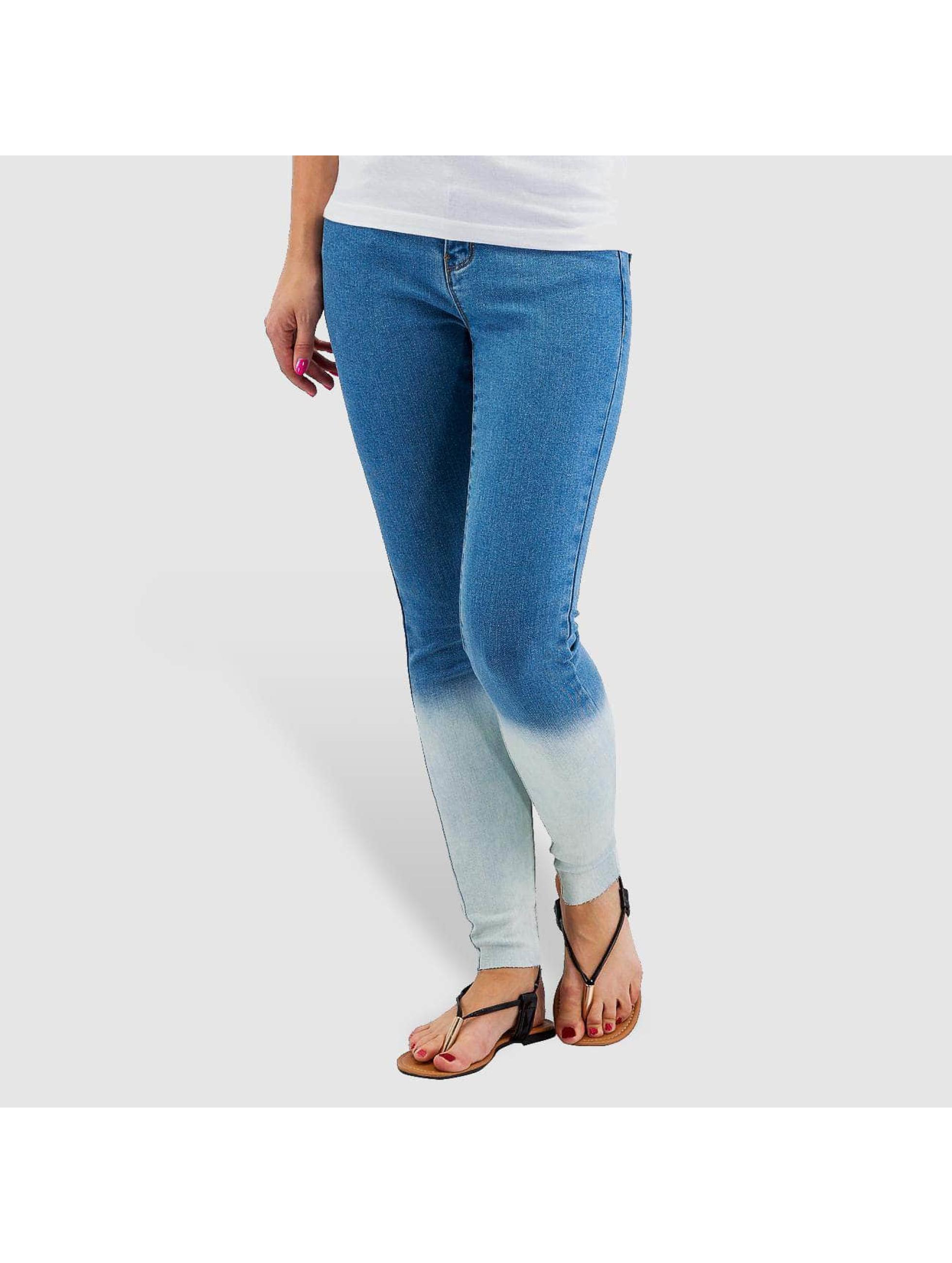 Vero Moda Frauen Skinny Jeans vmSeven Dip Dye Ankle in blau