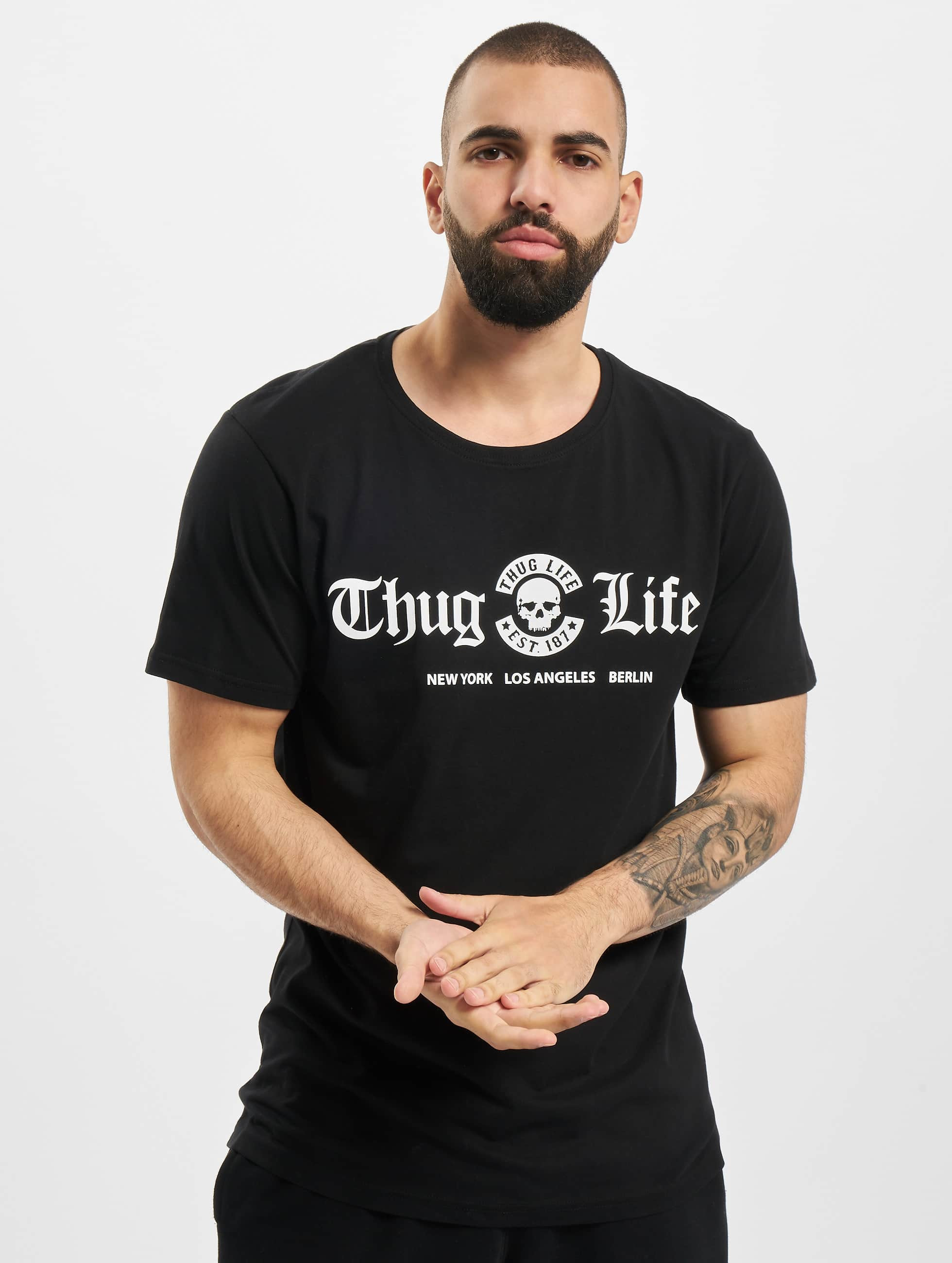 Mister Tee Männer Tall Tees Thug Life Cities in schwarz