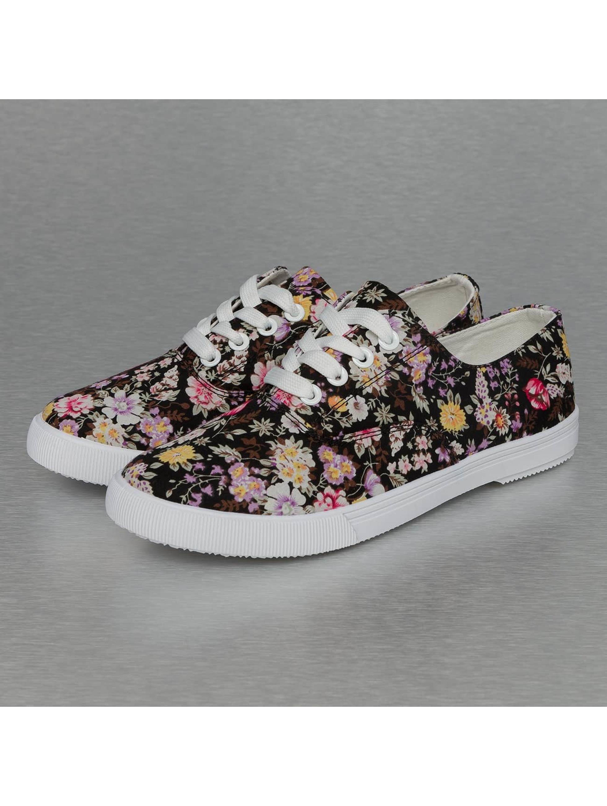Jumex Frauen Sneaker Summer Flower Low in schwarz