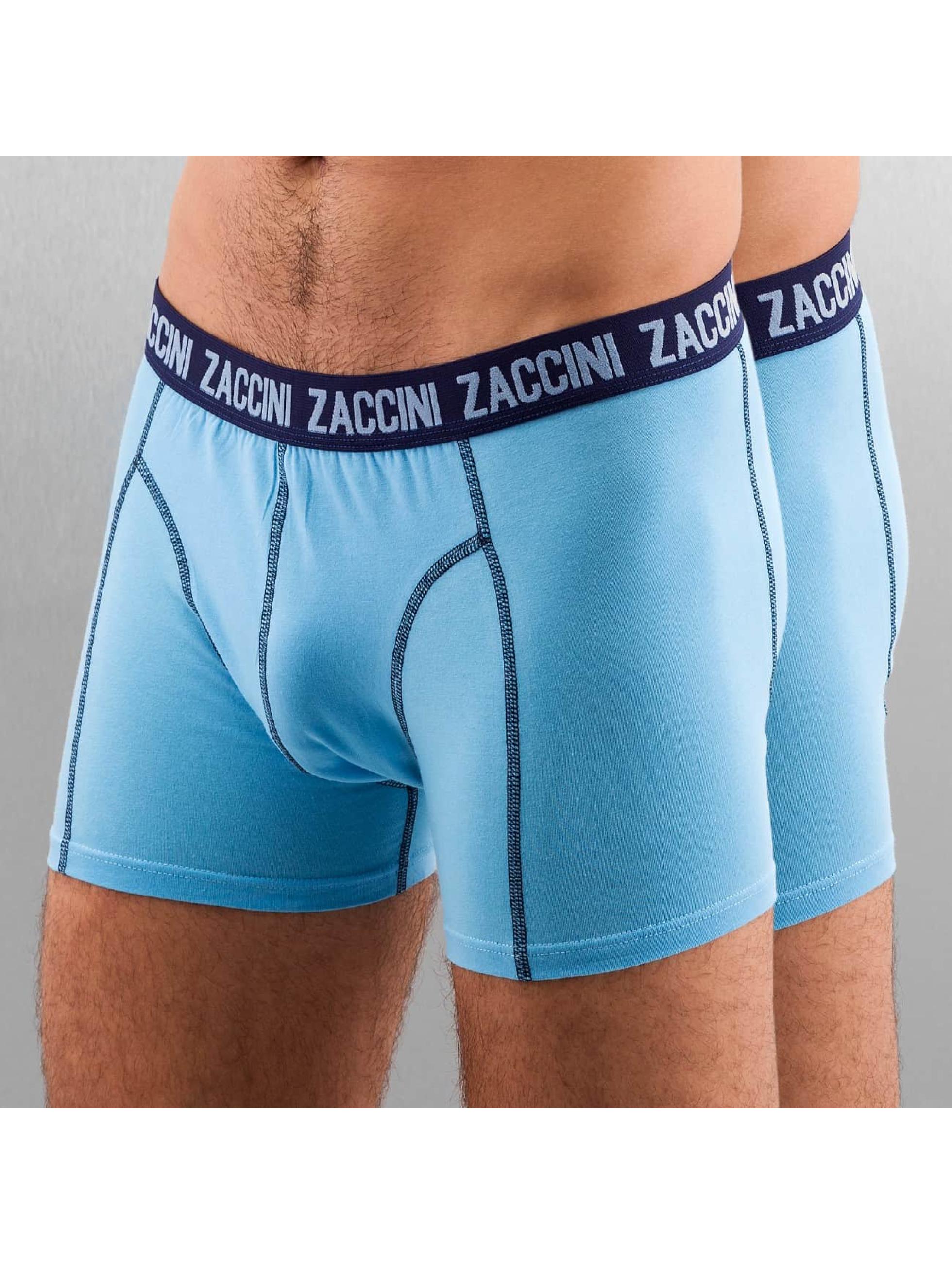 Zaccini Männer Boxershorts Uni 2-Pack in blau