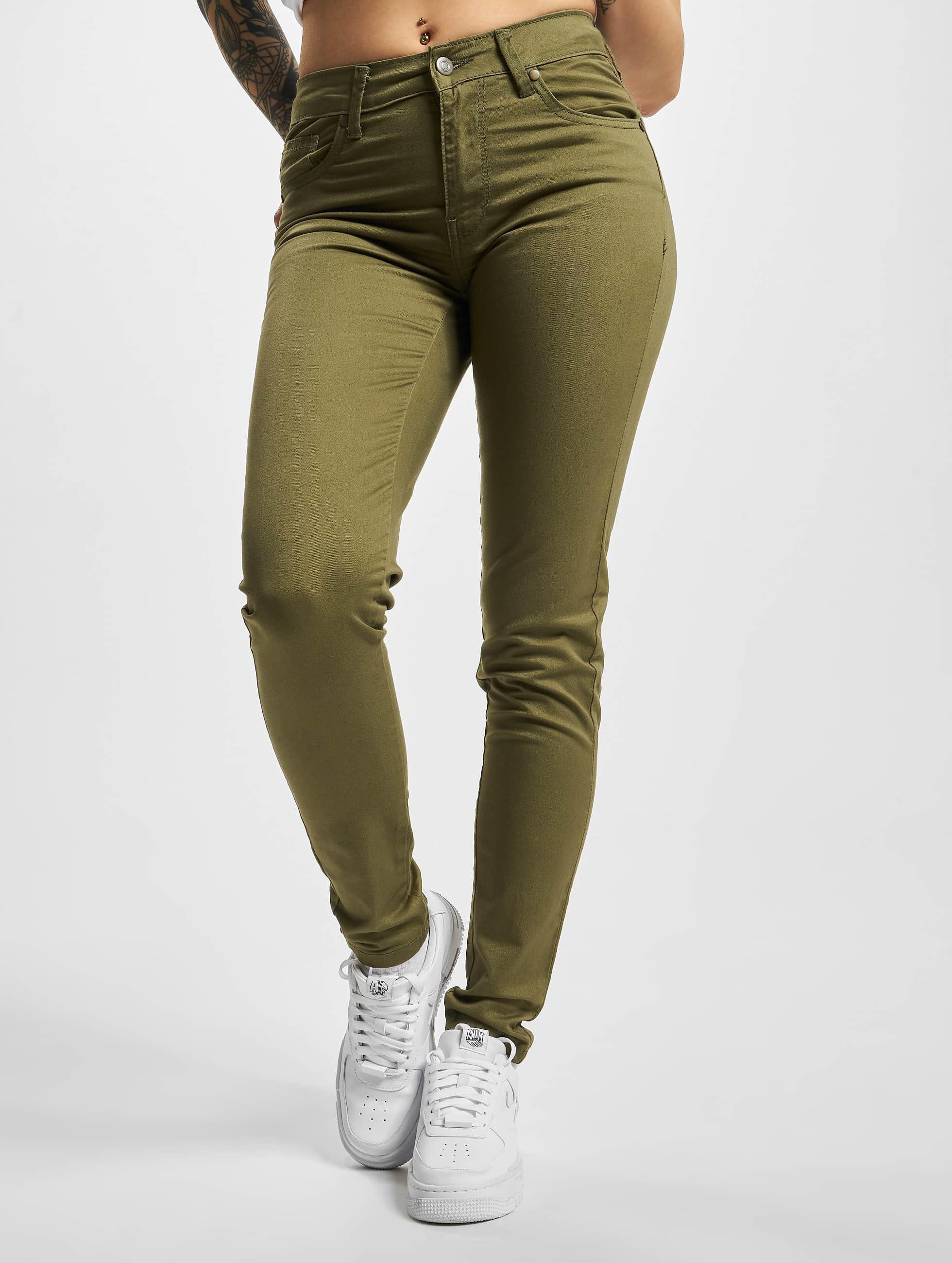 Urban Classics Frauen Skinny Jeans Ladies in olive