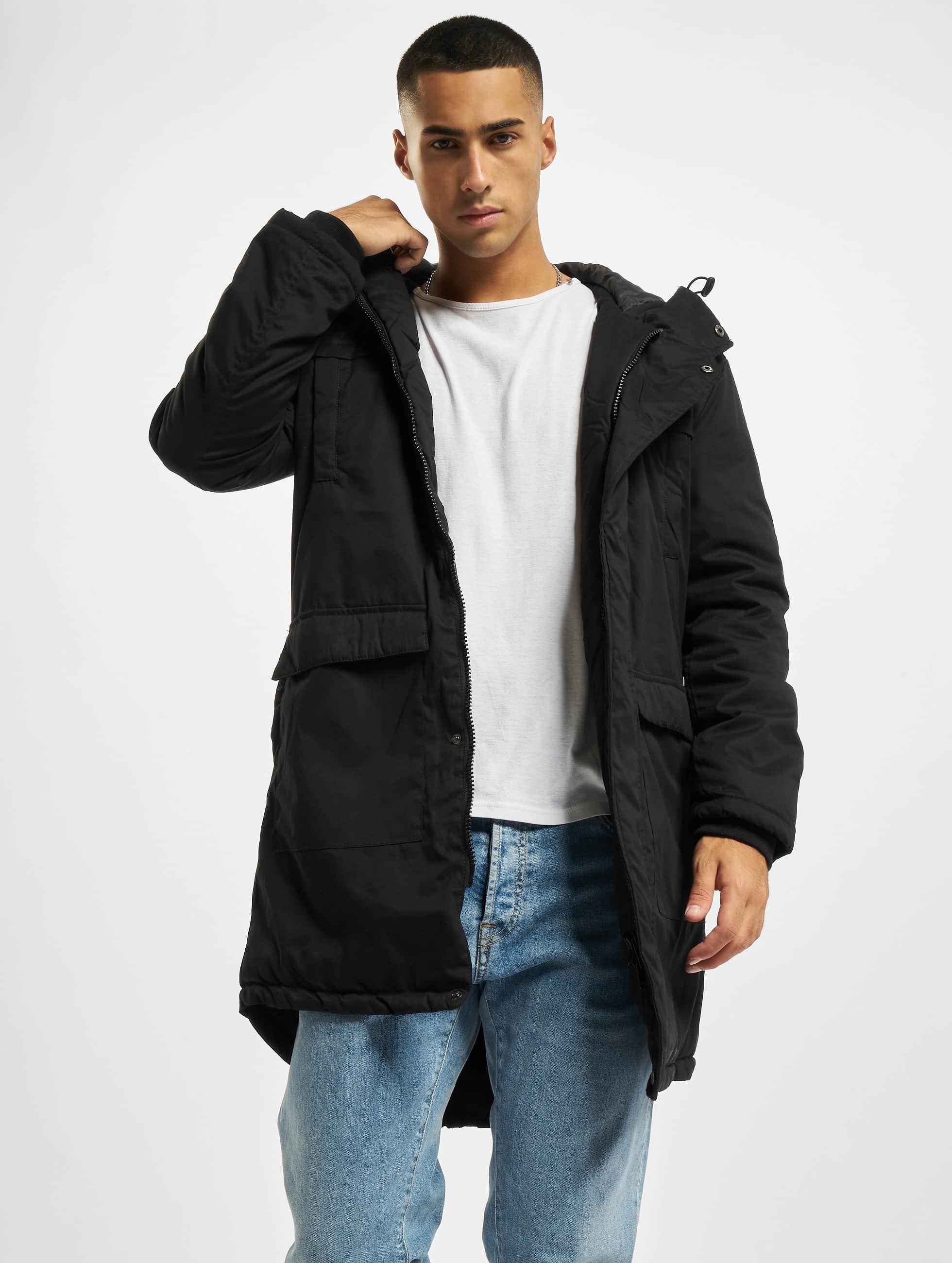 Urban Classics Männer Mantel Cotton Peached Canvas in schwarz