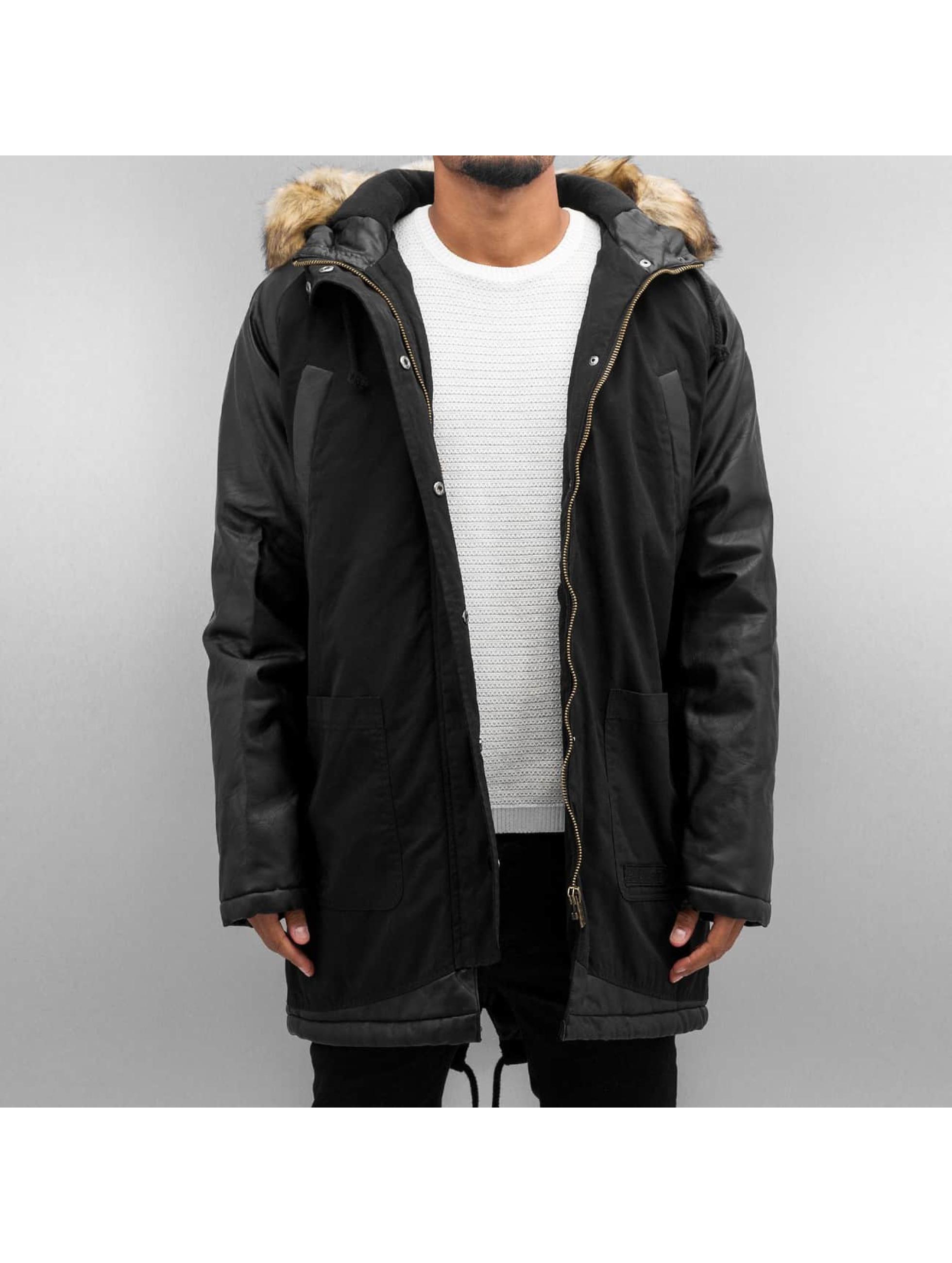 Bangastic Männer Mantel PU Sleeves in schwarz