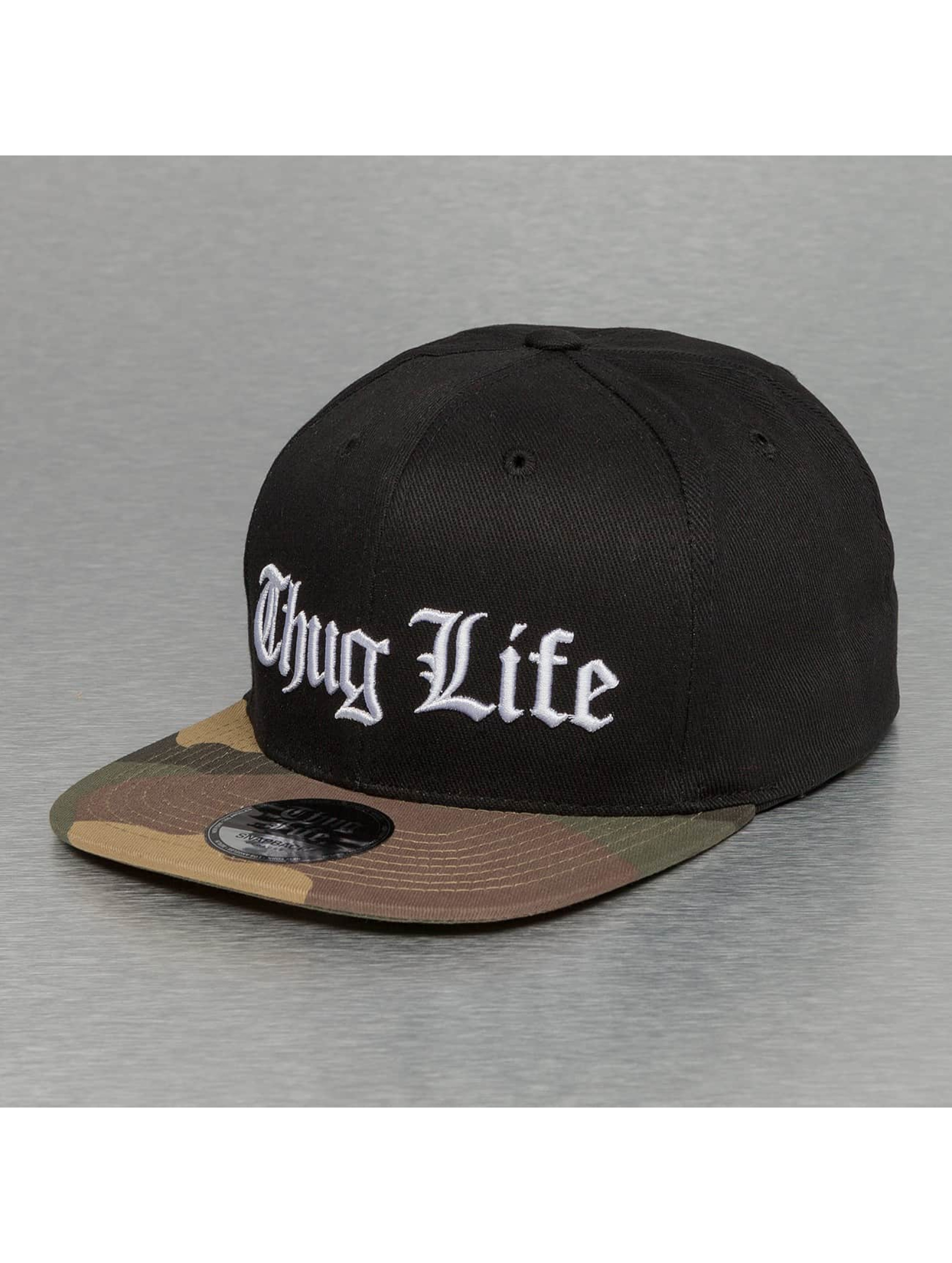 Thug Life / Snapback Cap White Logo in black Adjustable