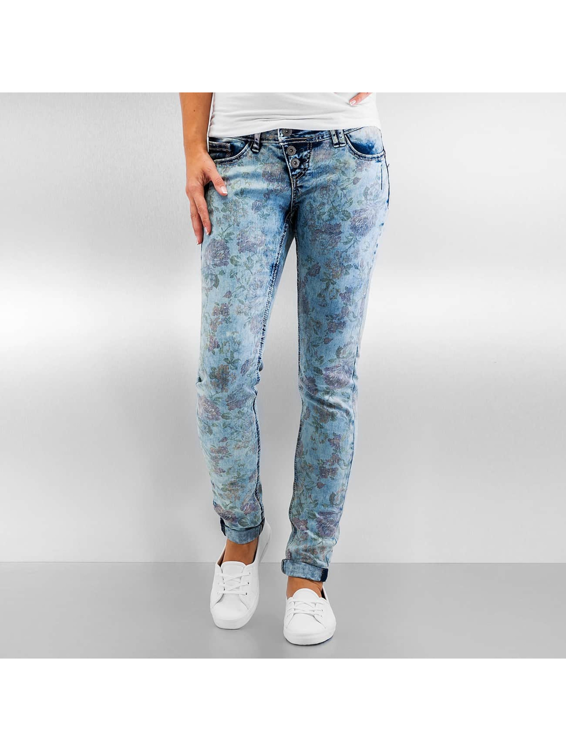 Authentic Style Frauen Skinny Jeans Amy Flower in blau