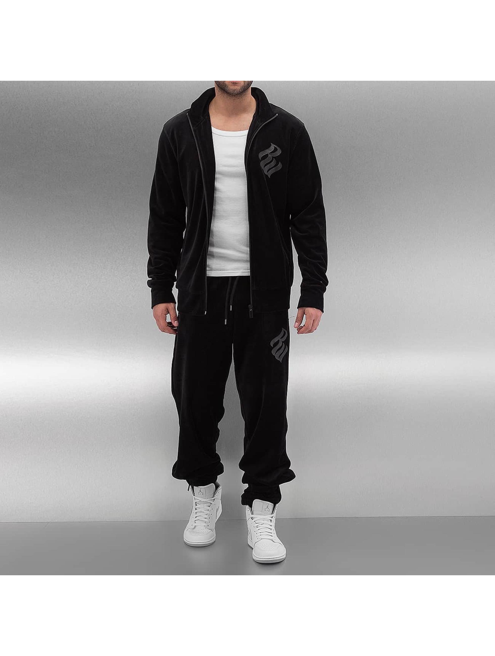 Rocawear Männer Anzug Velour Samt in schwarz