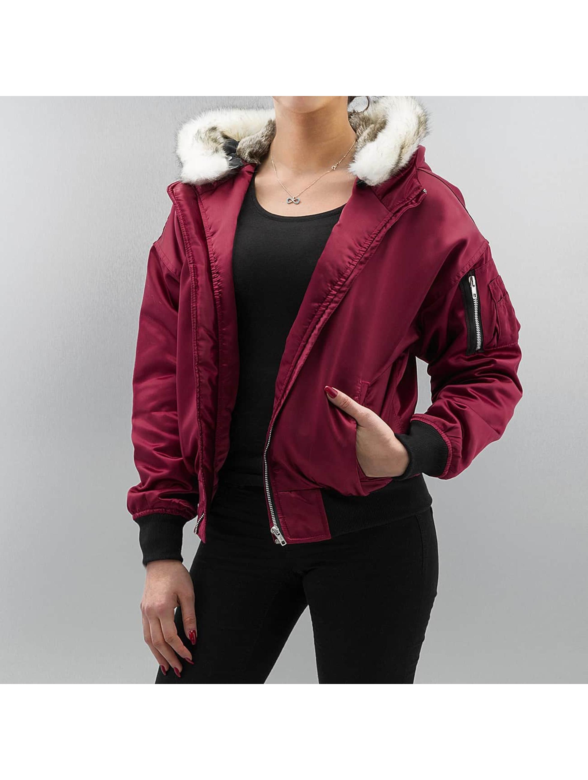 DEF Frauen Bomberjacke Fake Fur in rot