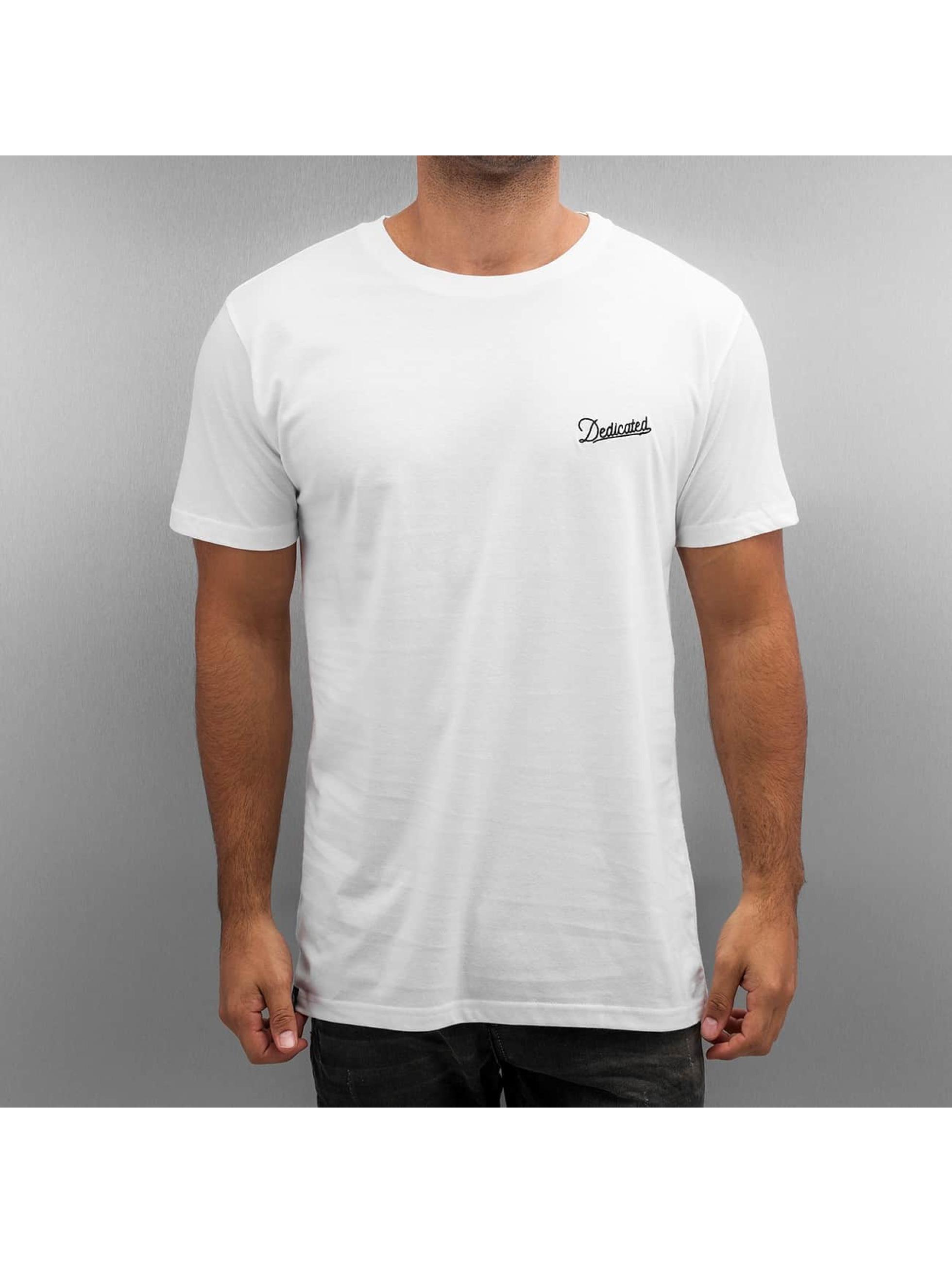 DEDICATED Männer T-Shirt Stockholm Mountain Script in weiß
