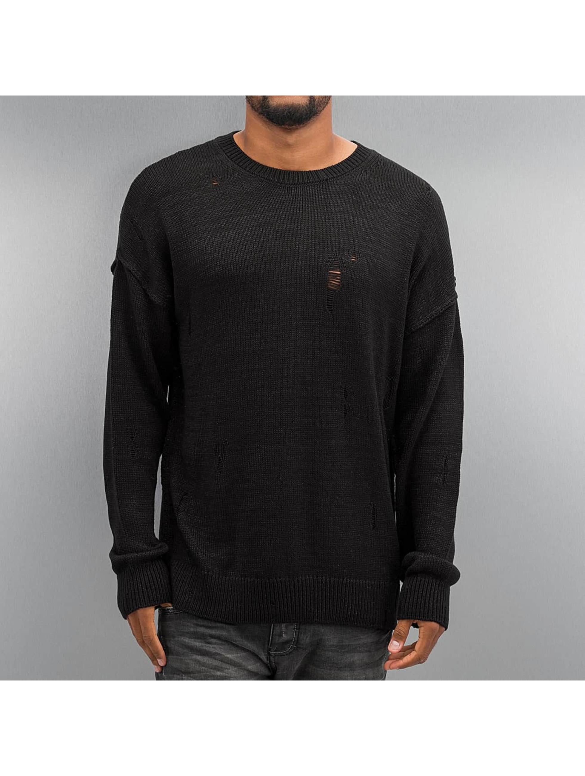 Criminal Damage Männer Pullover Chapel Knit in schwarz