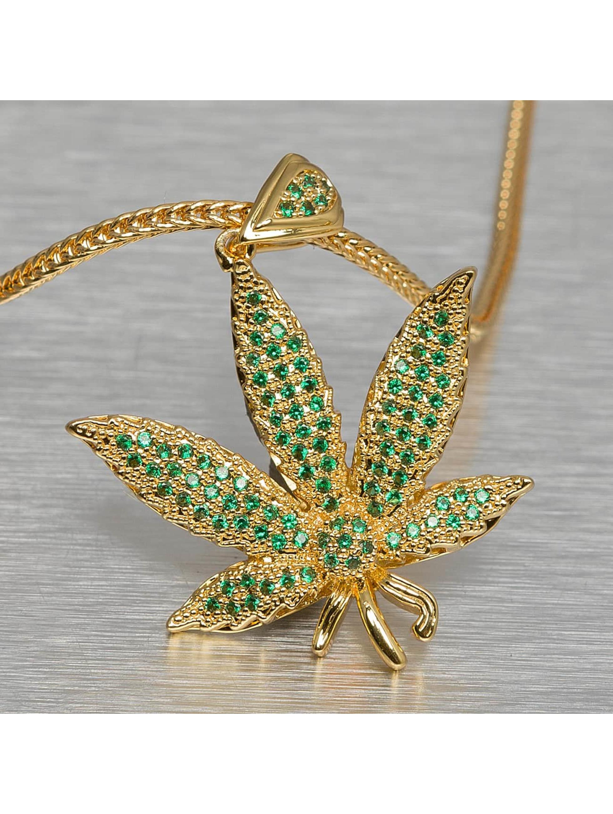 KING ICE Männer,Frauen Kette Jungl Julz Weed Leaf in goldfarben