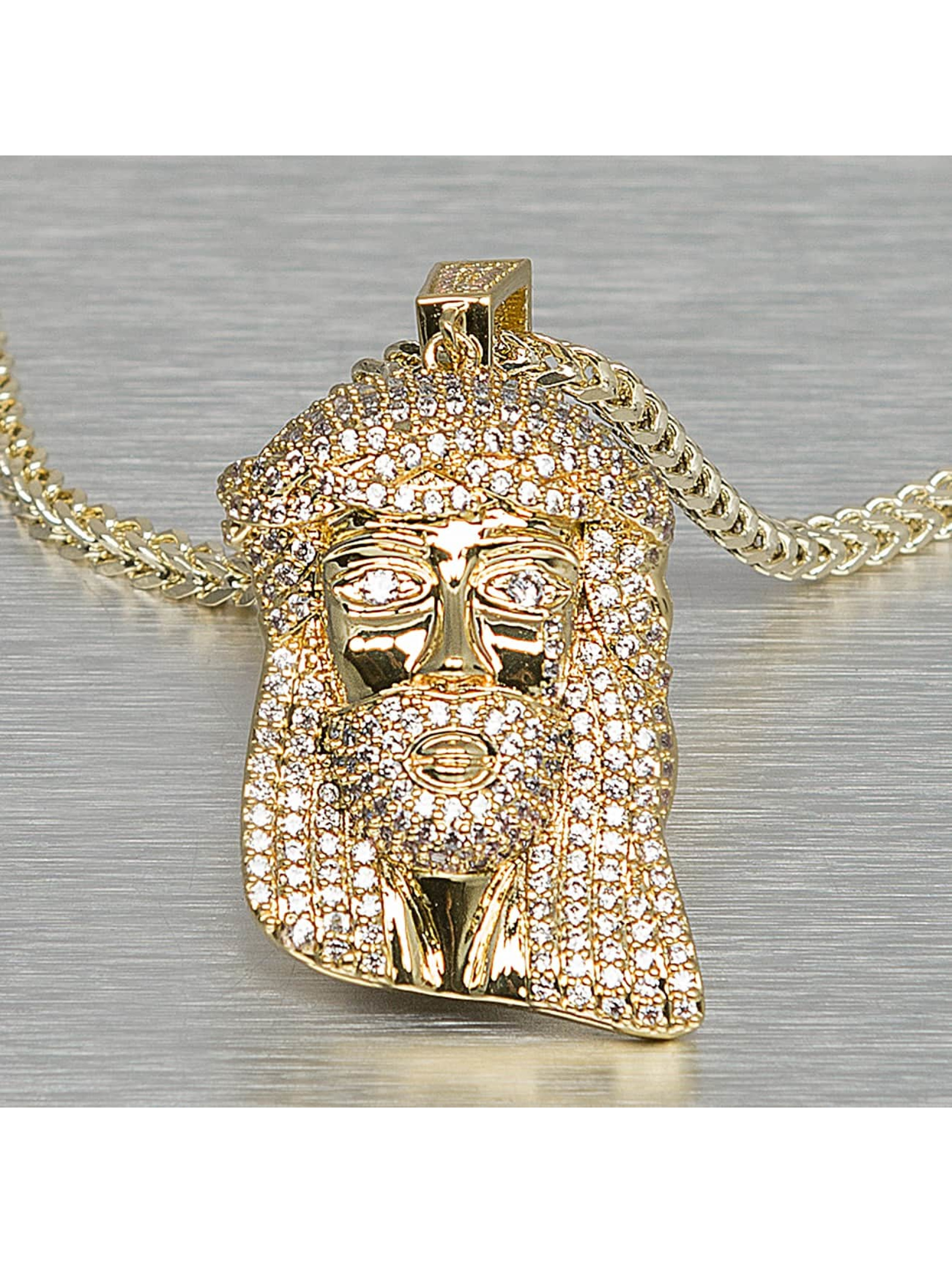 KING ICE Männer,Frauen Kette Small Solid Jesus in goldfarben