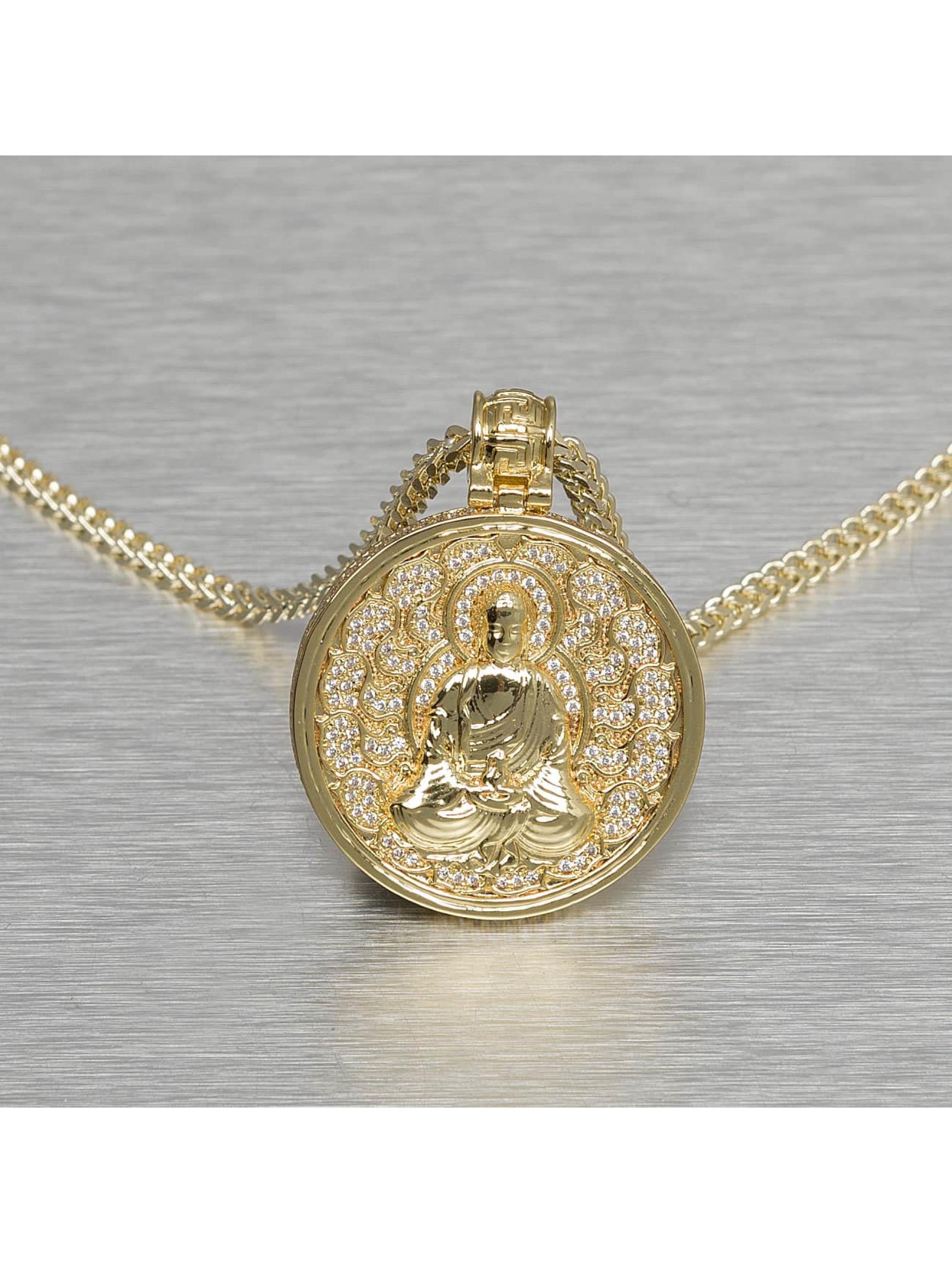 KING ICE Männer,Frauen Kette Buddhist Medallion in goldfarben