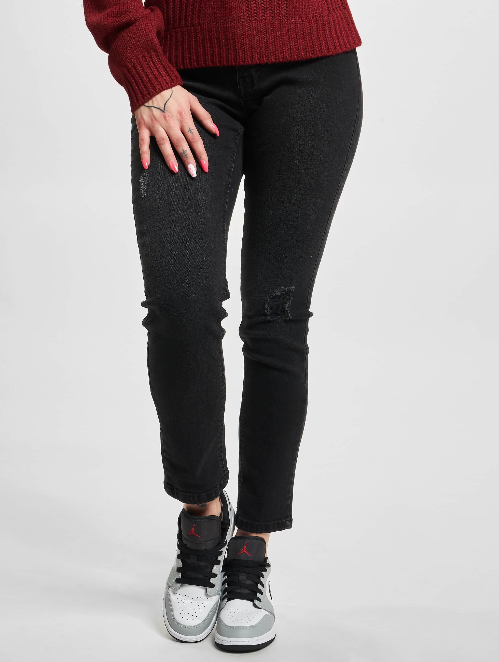 Urban Classics Frauen High Waist Jeans Ladies High Waist in schwarz