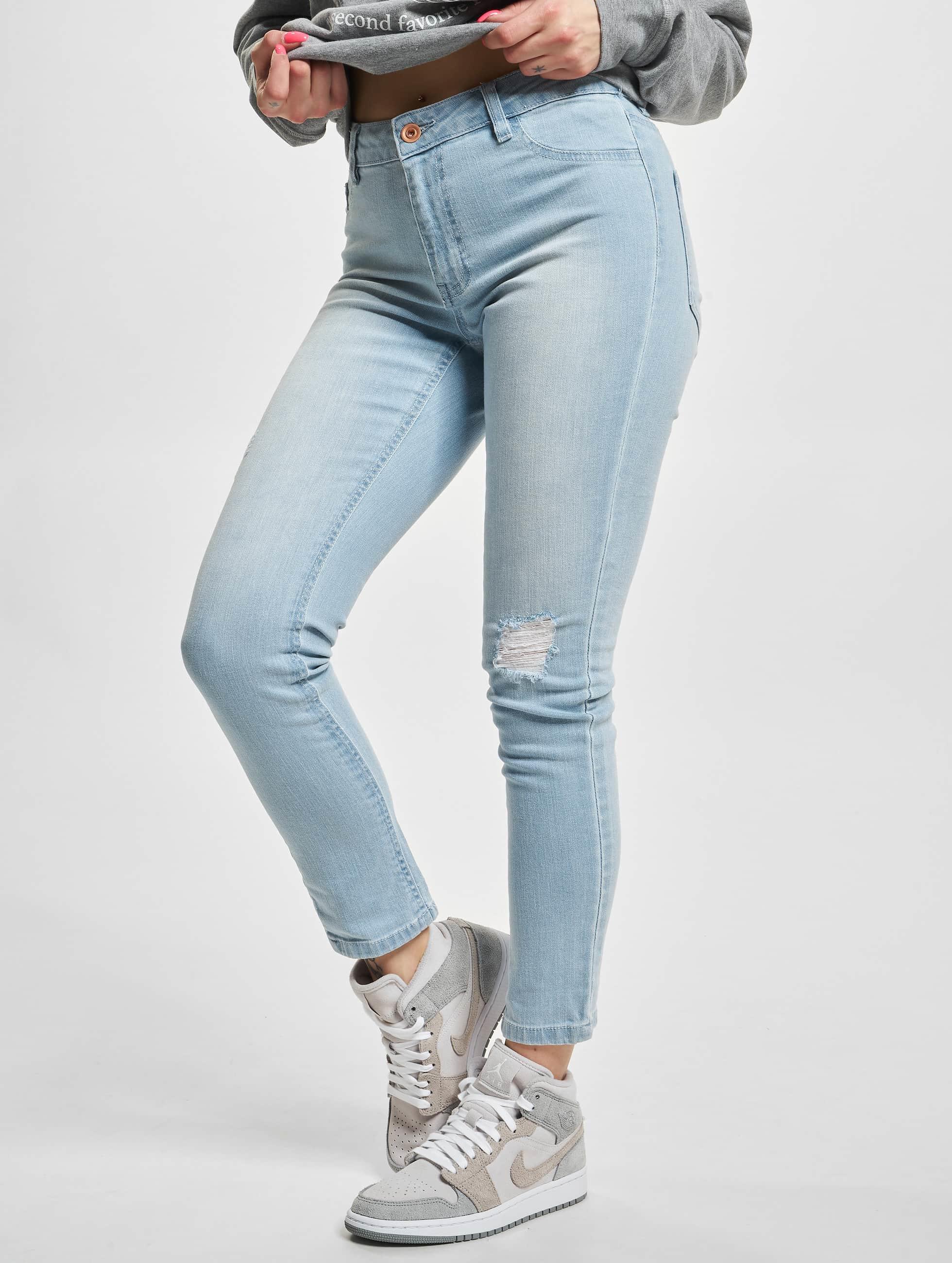 Urban Classics Frauen High Waist Jeans Ladies High Waist in blau