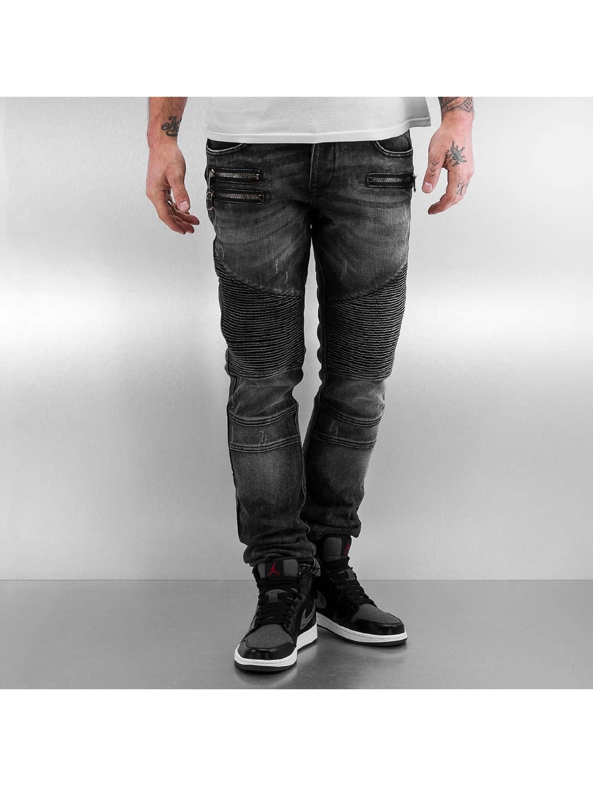 2Y Männer Skinny Jeans Zip in grau