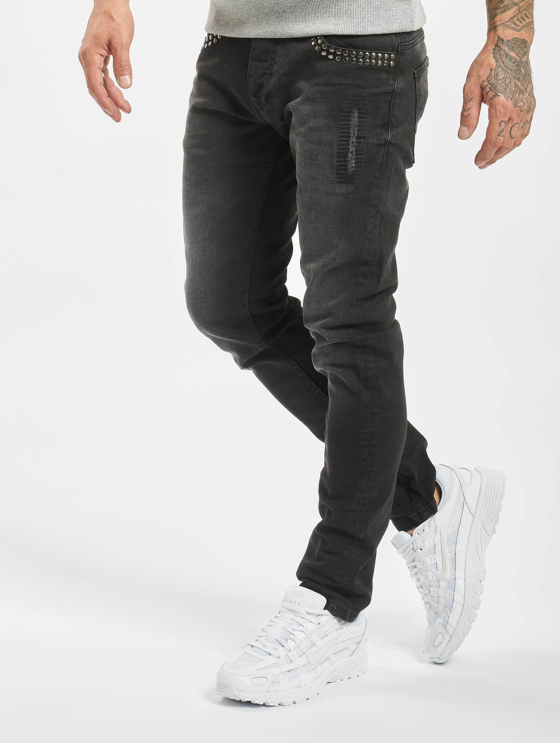 2Y Männer Skinny Jeans Rivet in schwarz