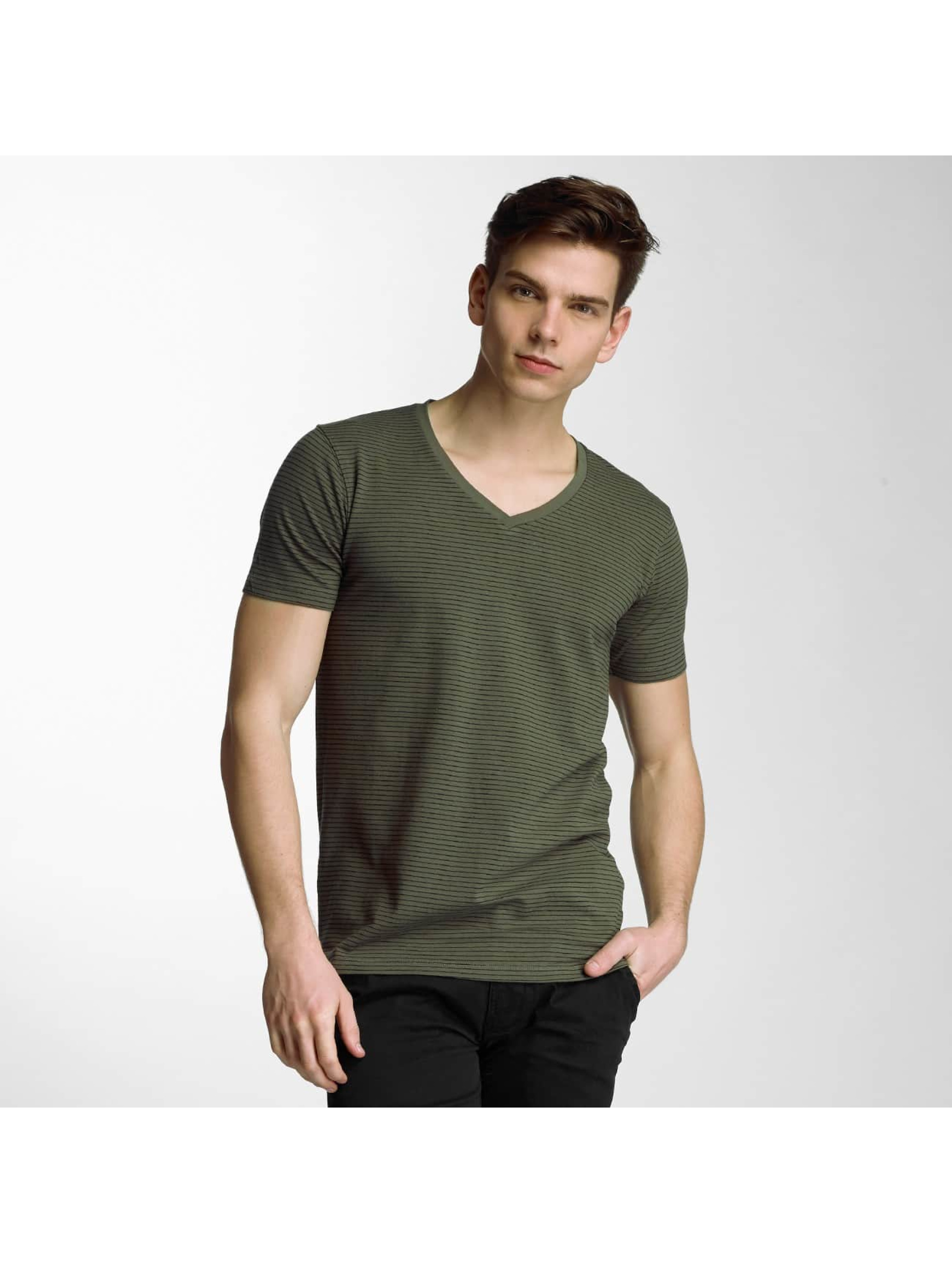 Lindbergh Männer T-Shirt Stretch V-Neck in olive