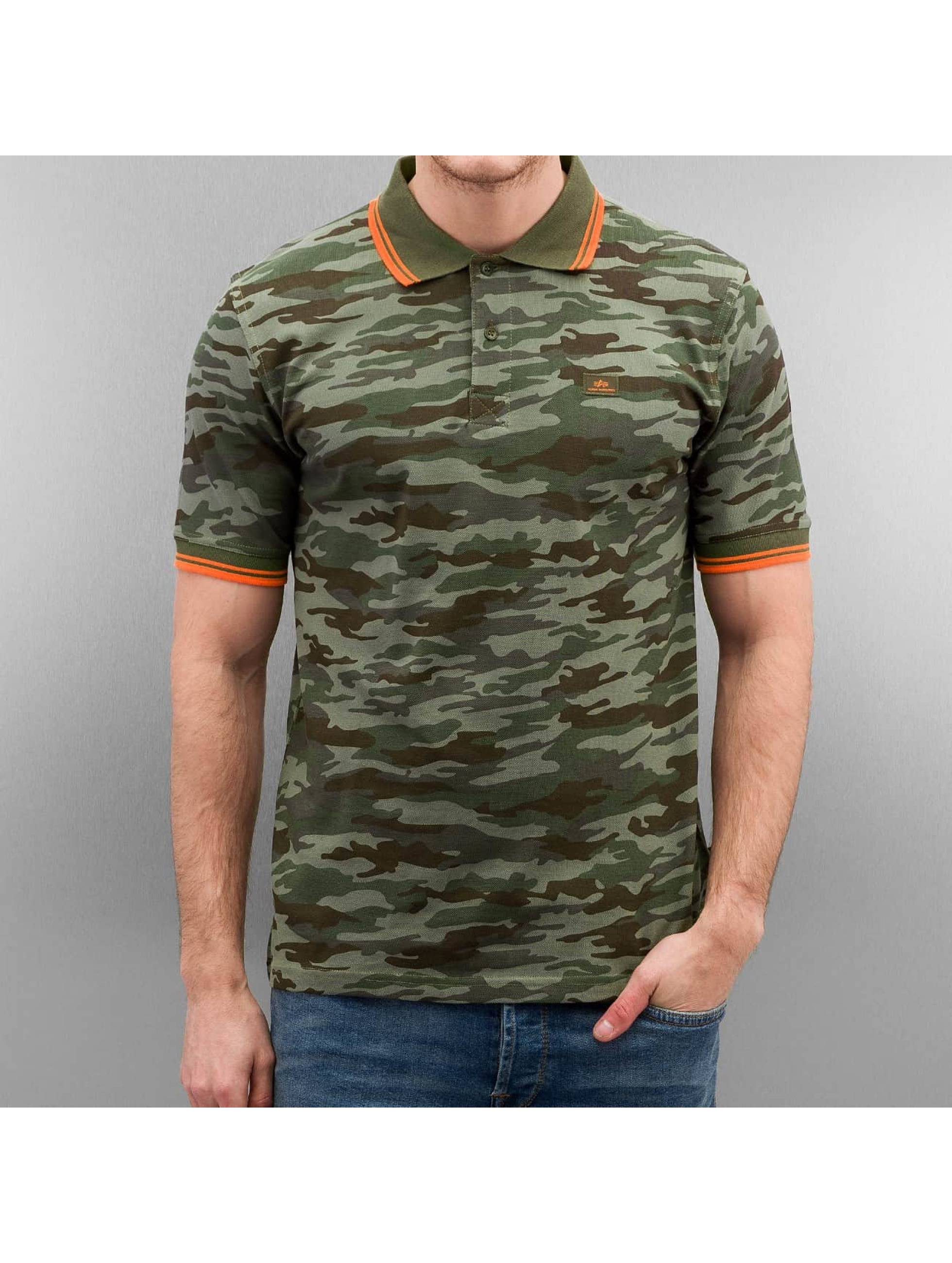 Alpha Industries Männer Poloshirt Twin Stripe Camo in camouflage