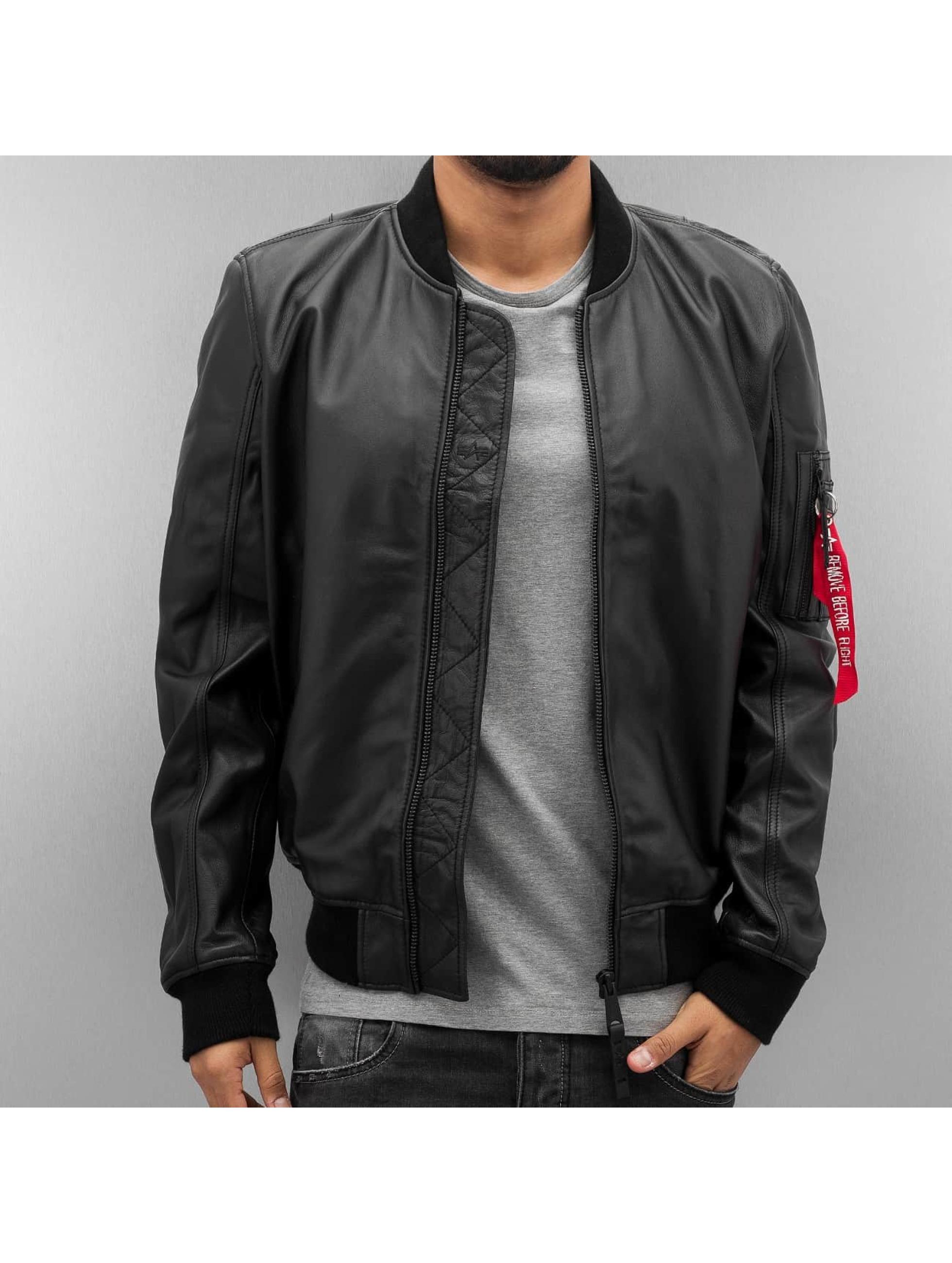 Alpha Industries Männer Lederjacke MA-1 Leather LW || in schwarz