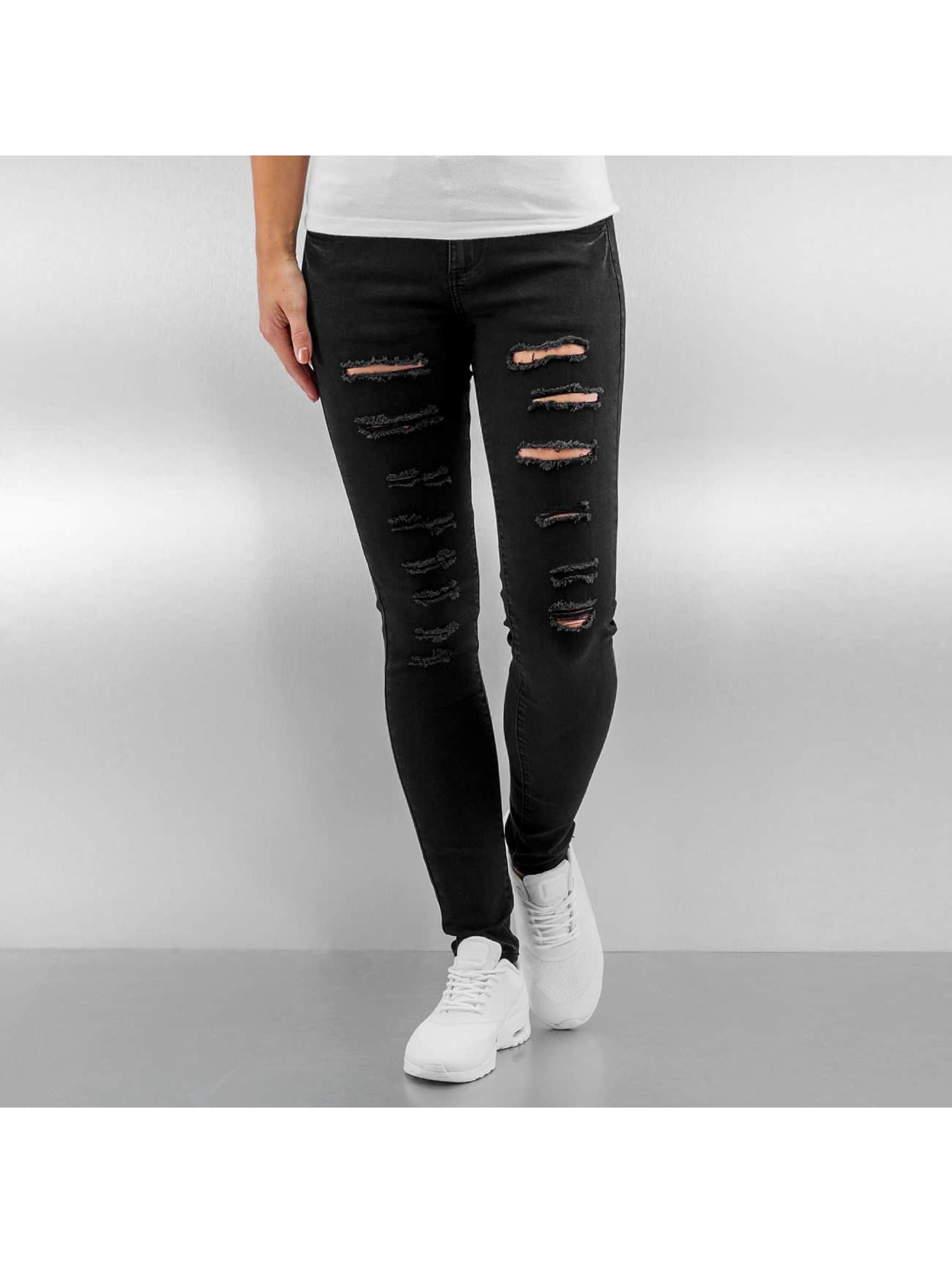 Sixth June Frauen Skinny Jeans Destroyed in schwarz Sale Angebote Döbern
